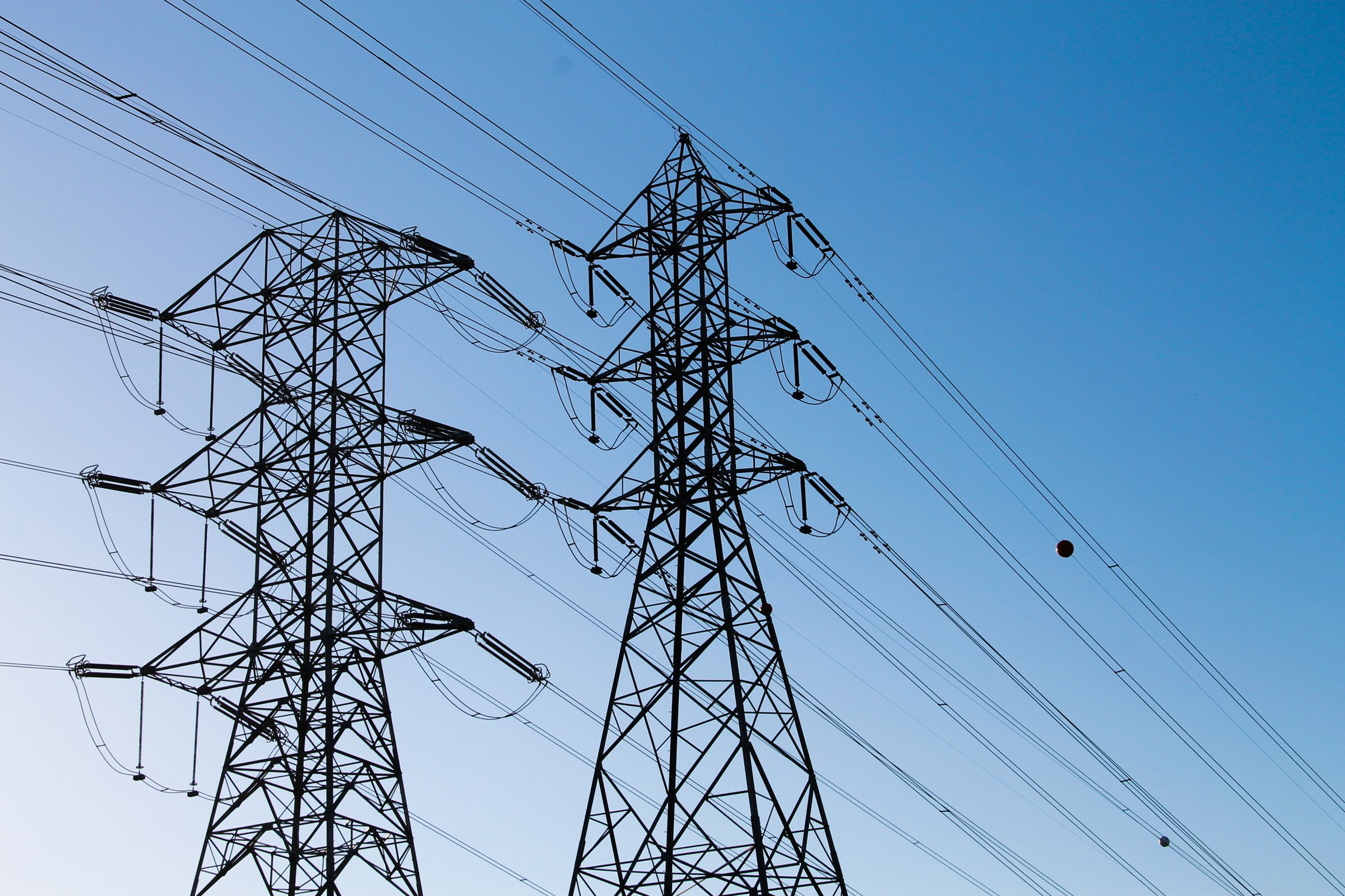 Electric Towers with Power Lines in Blue Sky » Good Stock Photos