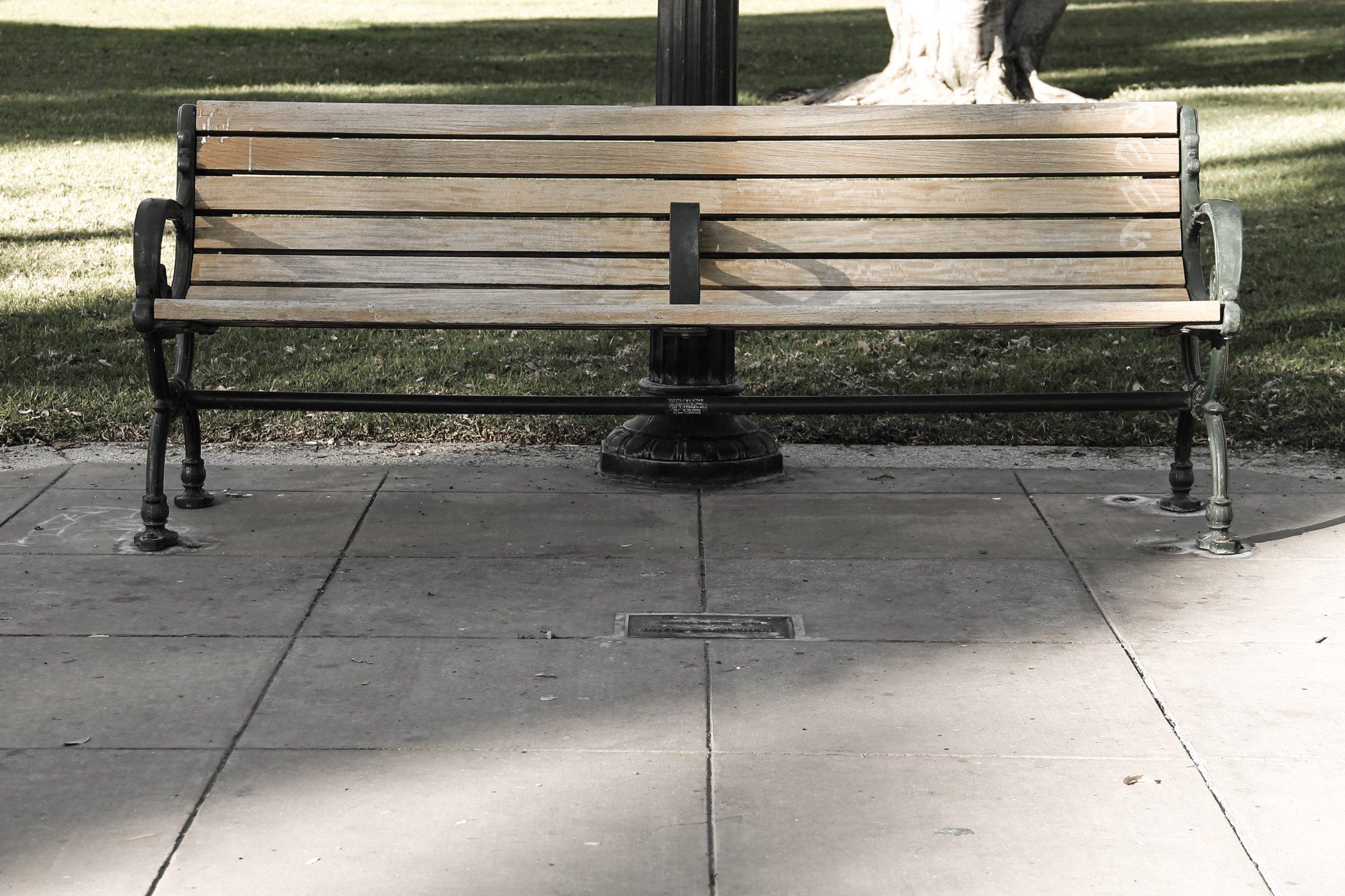Empty Wooden Park Bench » Good Stock Photos Empty Brick Wall