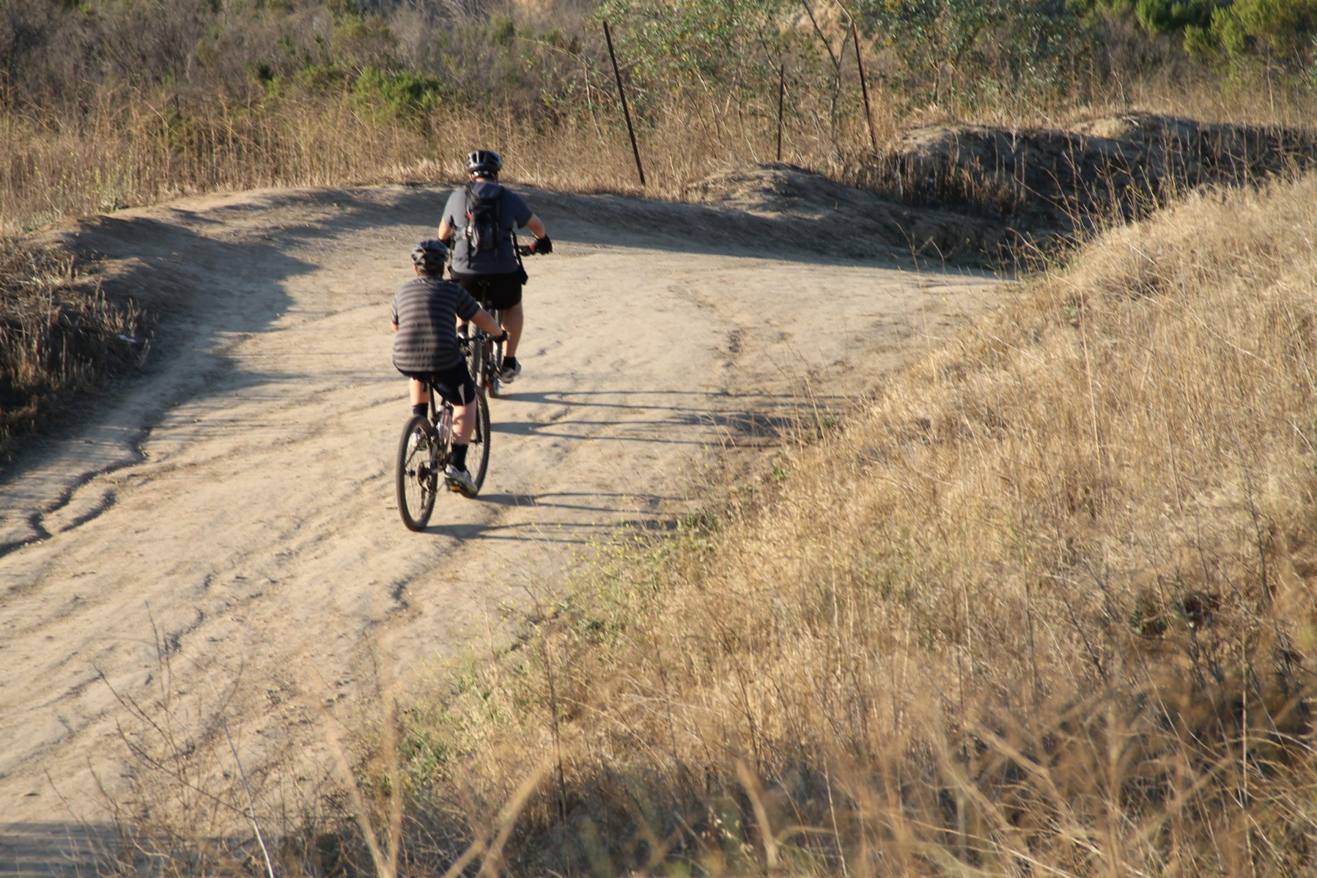 2 Bicyclists Riding on Dirt Trail