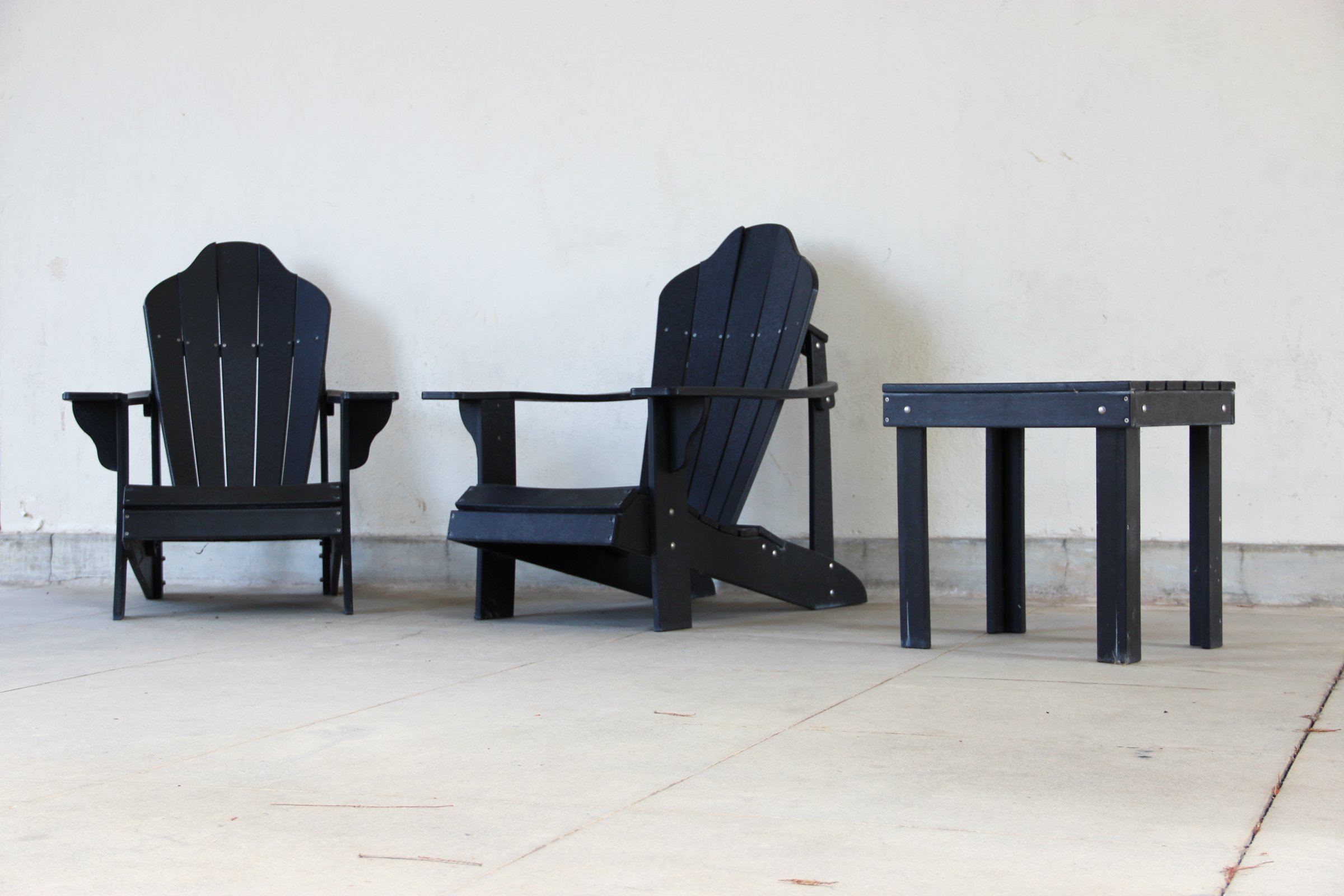 2 Black Wooden Chairs & Side Table