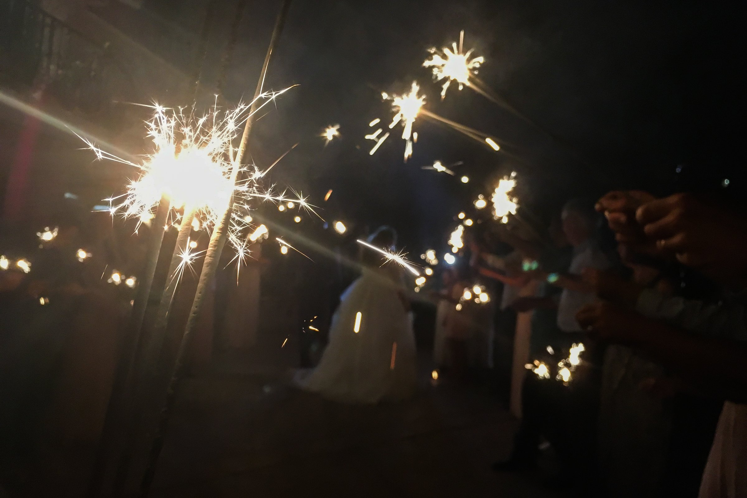 Sparklers in Night at Wedding