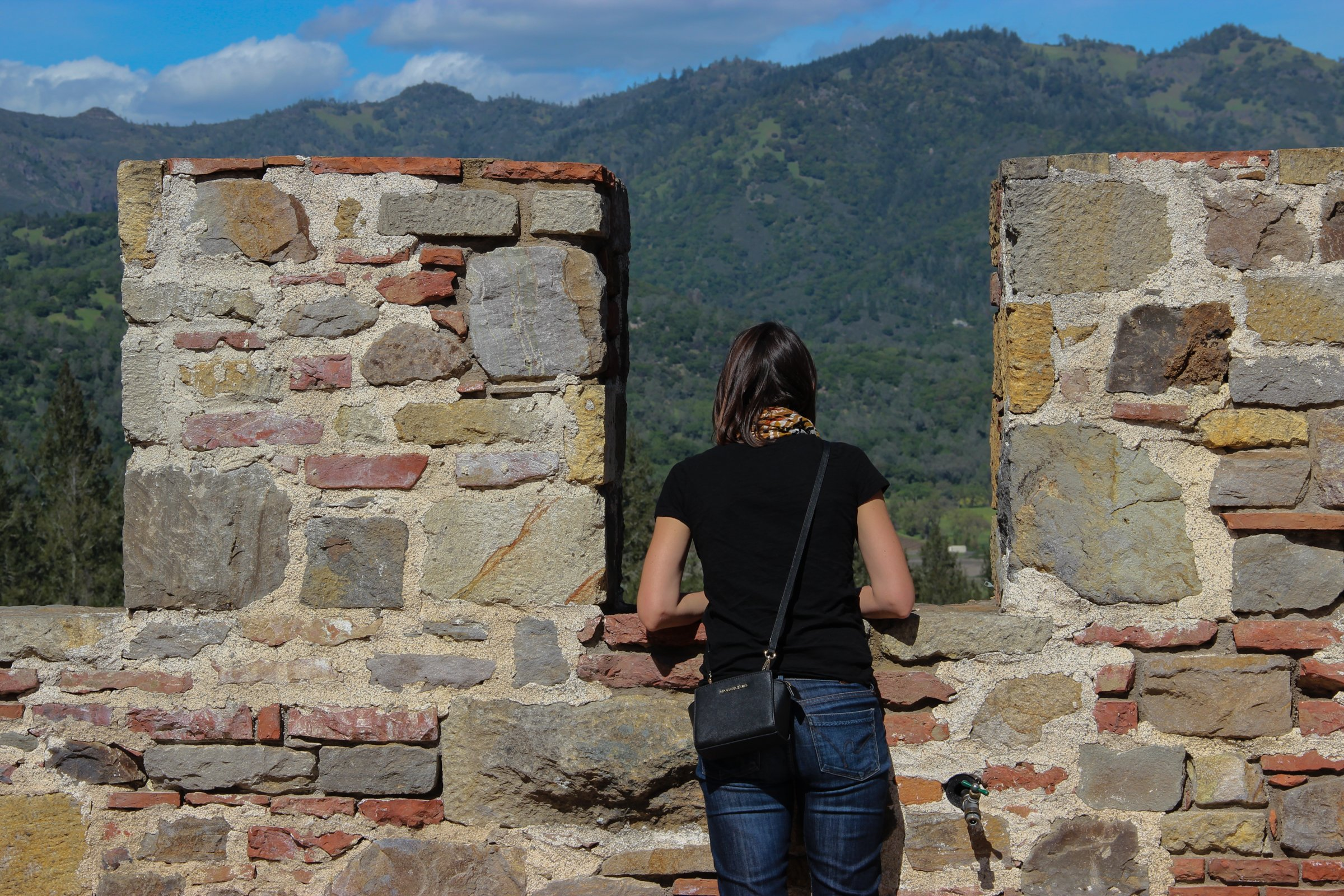 Woman Looking Out from Top of Stone Castle
