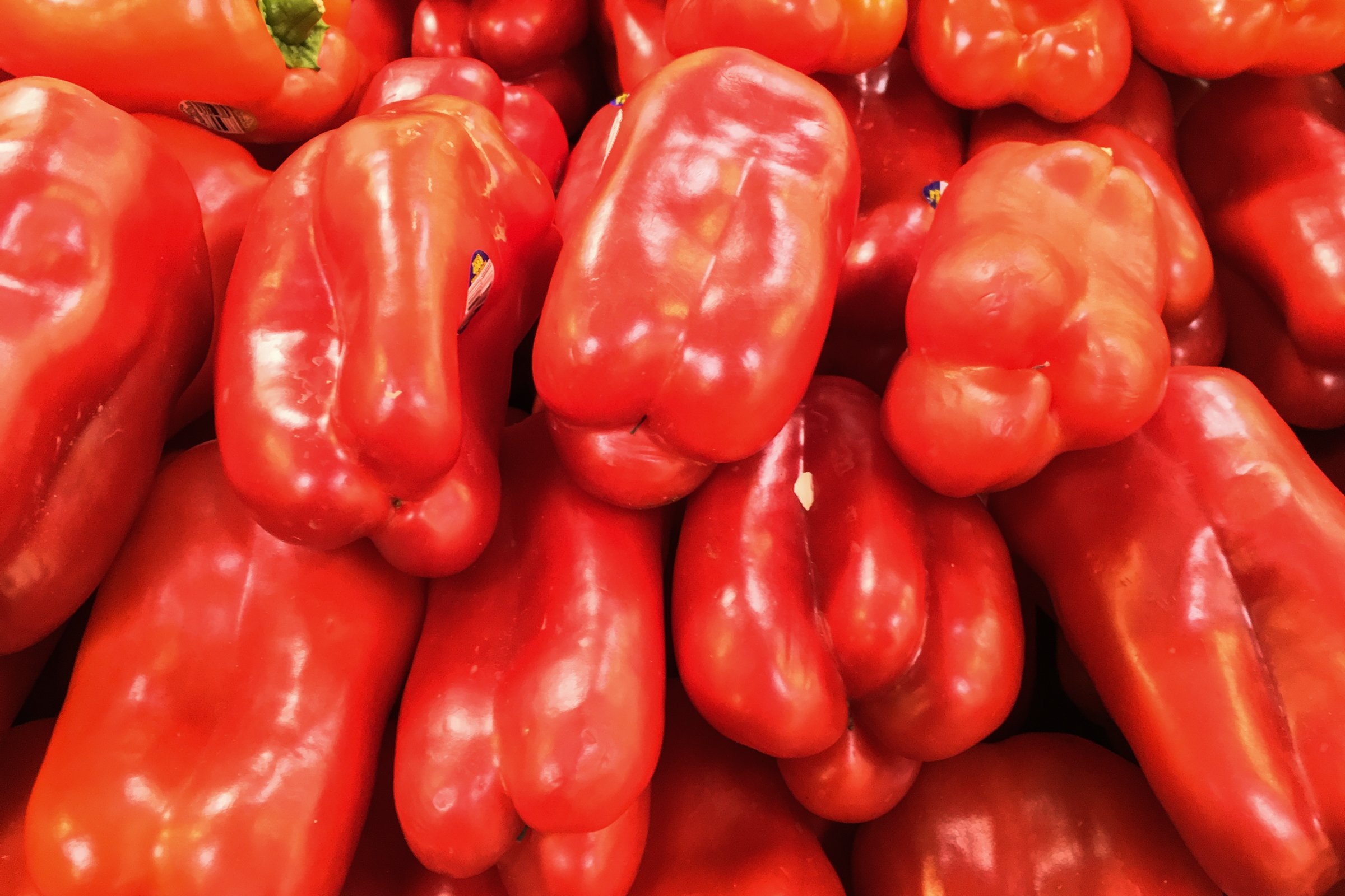 Bunch of Red Bell Peppers