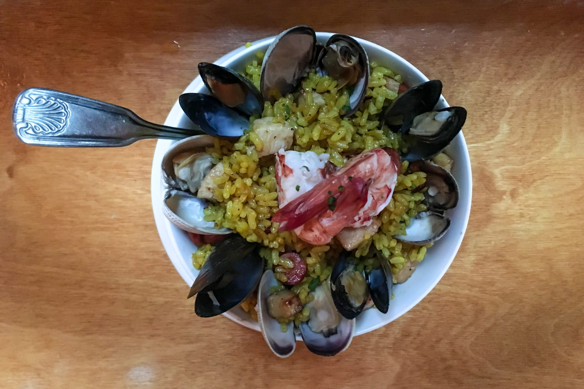 Seafood & Rice Bowl on Wood Table