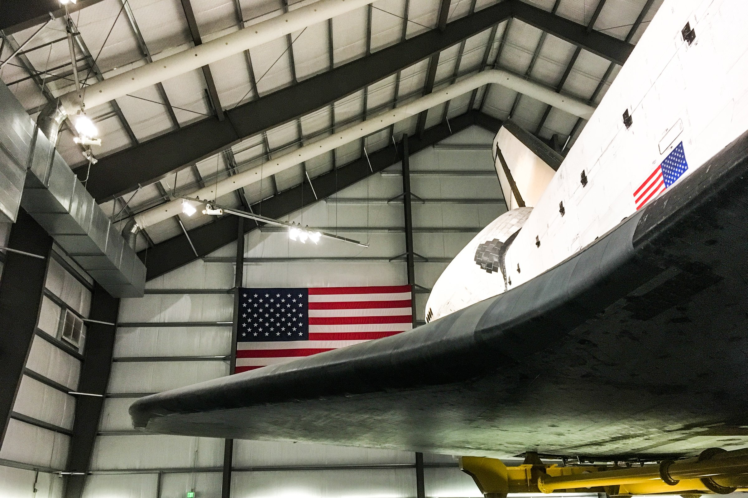 Space Shuttle in Hanger with American Flag