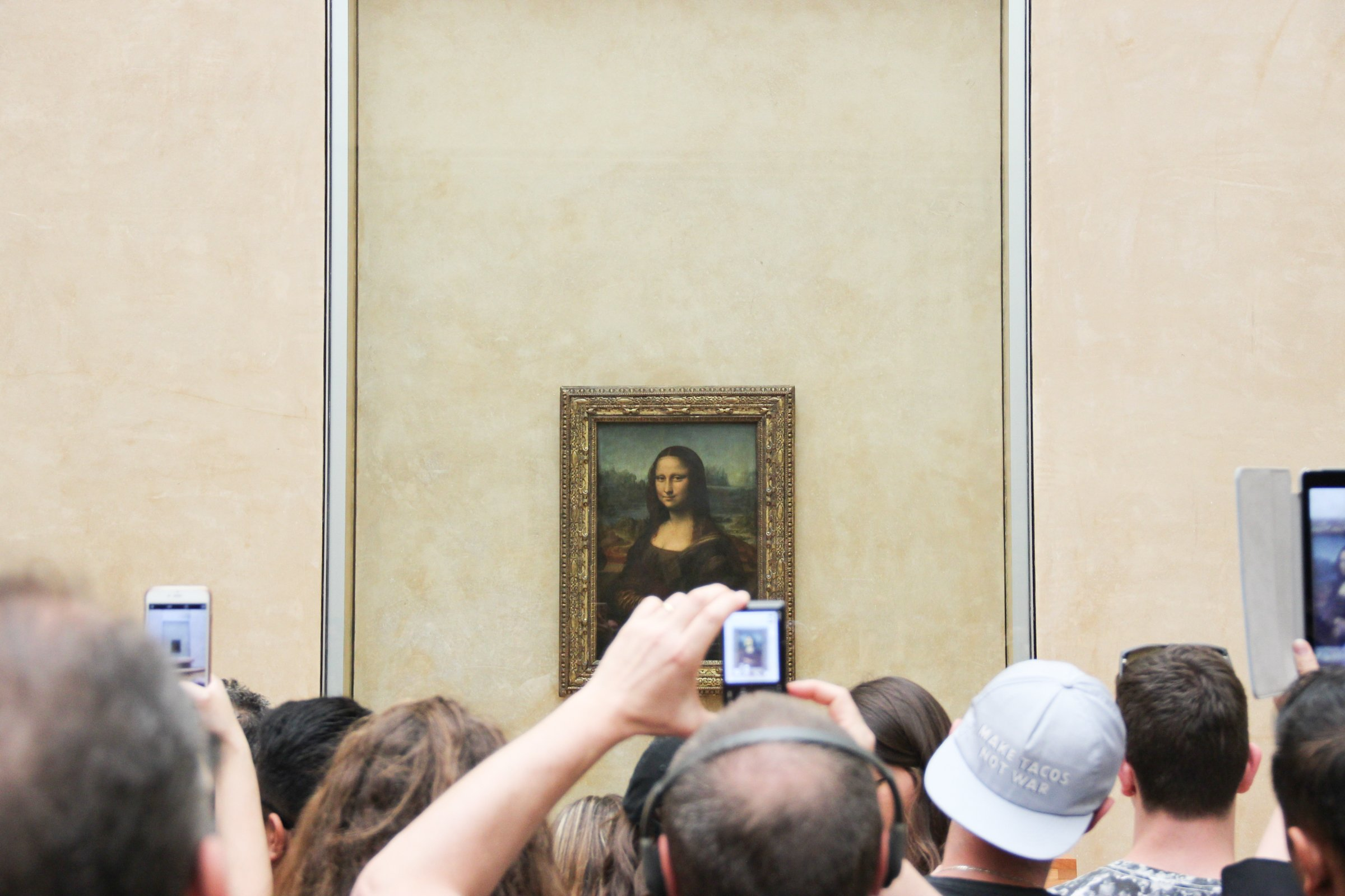 Free Stock Photo of People Taking Pictures of Mona Lisa