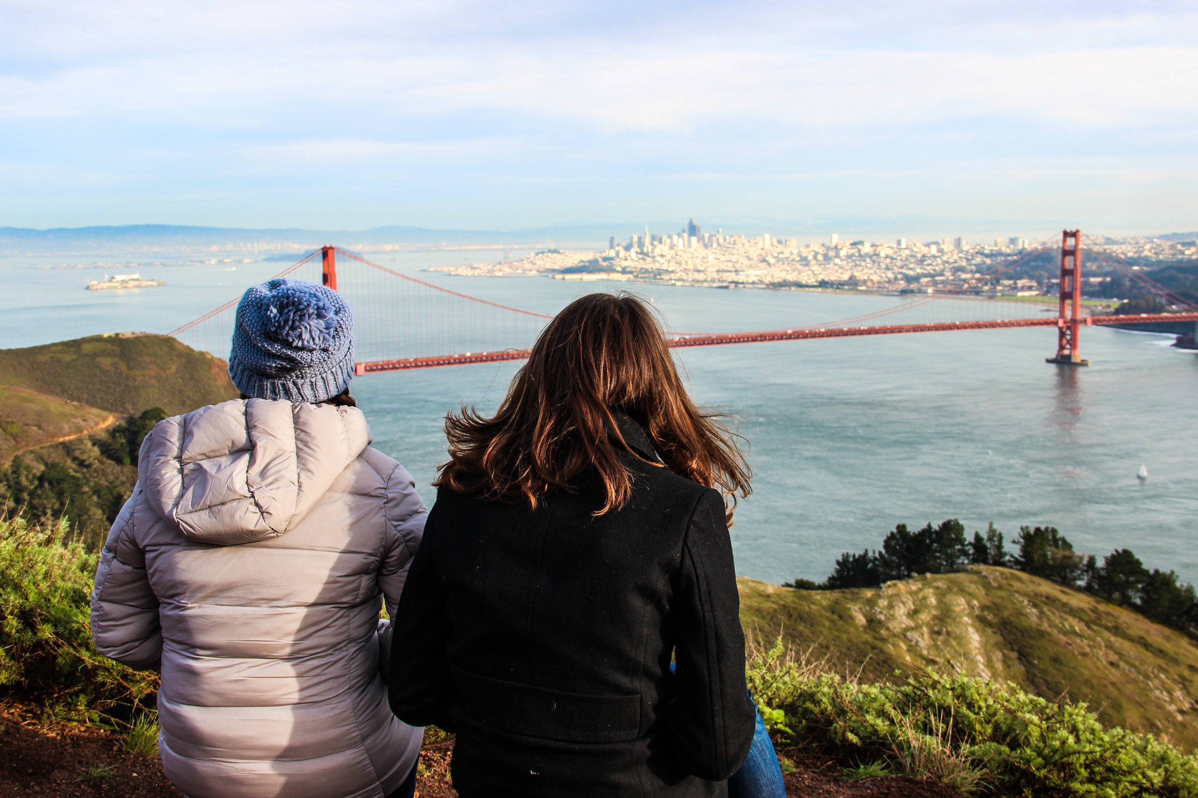 2 Women Gazing at Golden Gate Bridge