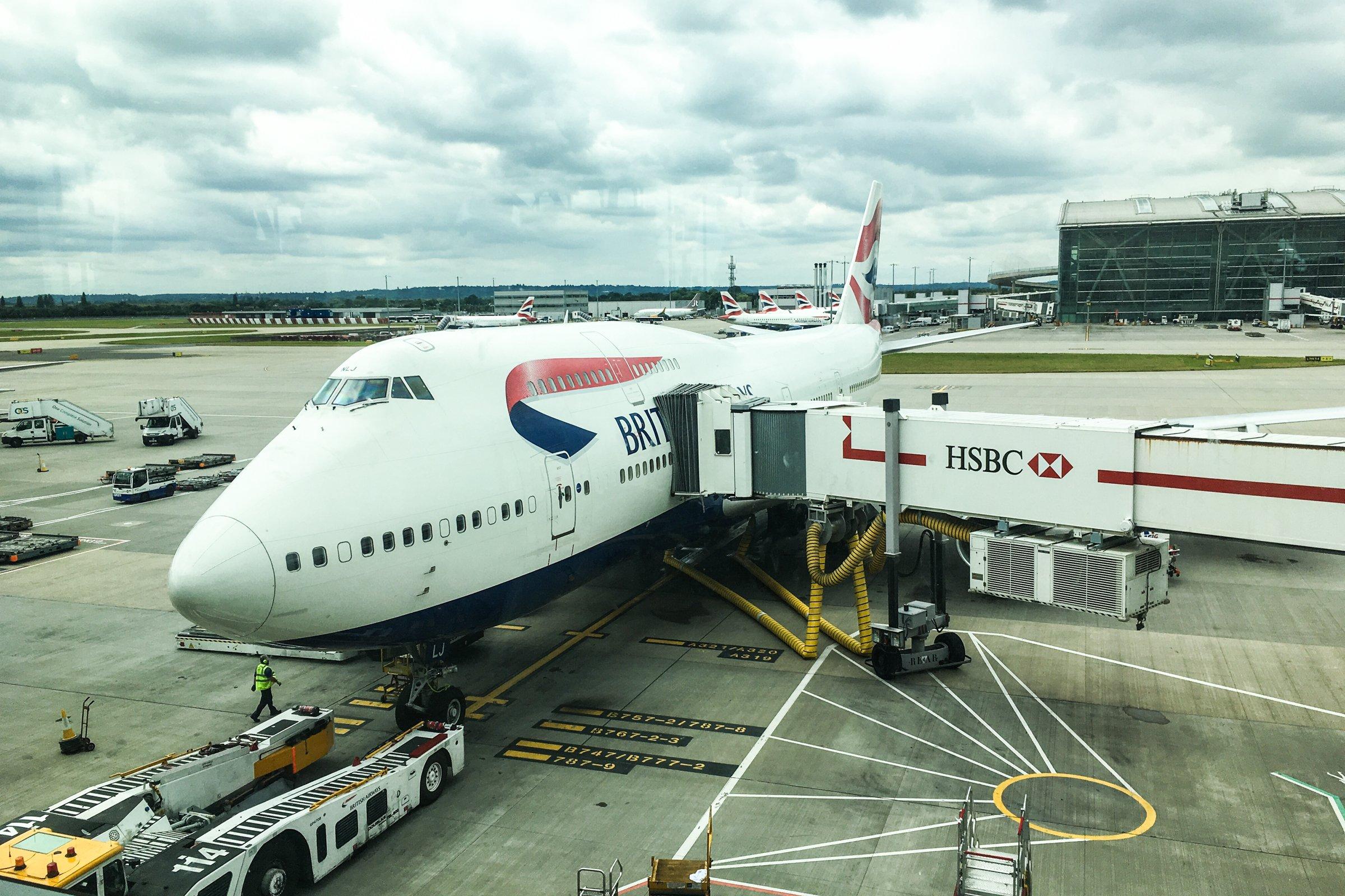 Jumbo Airplane at Airport Terminal