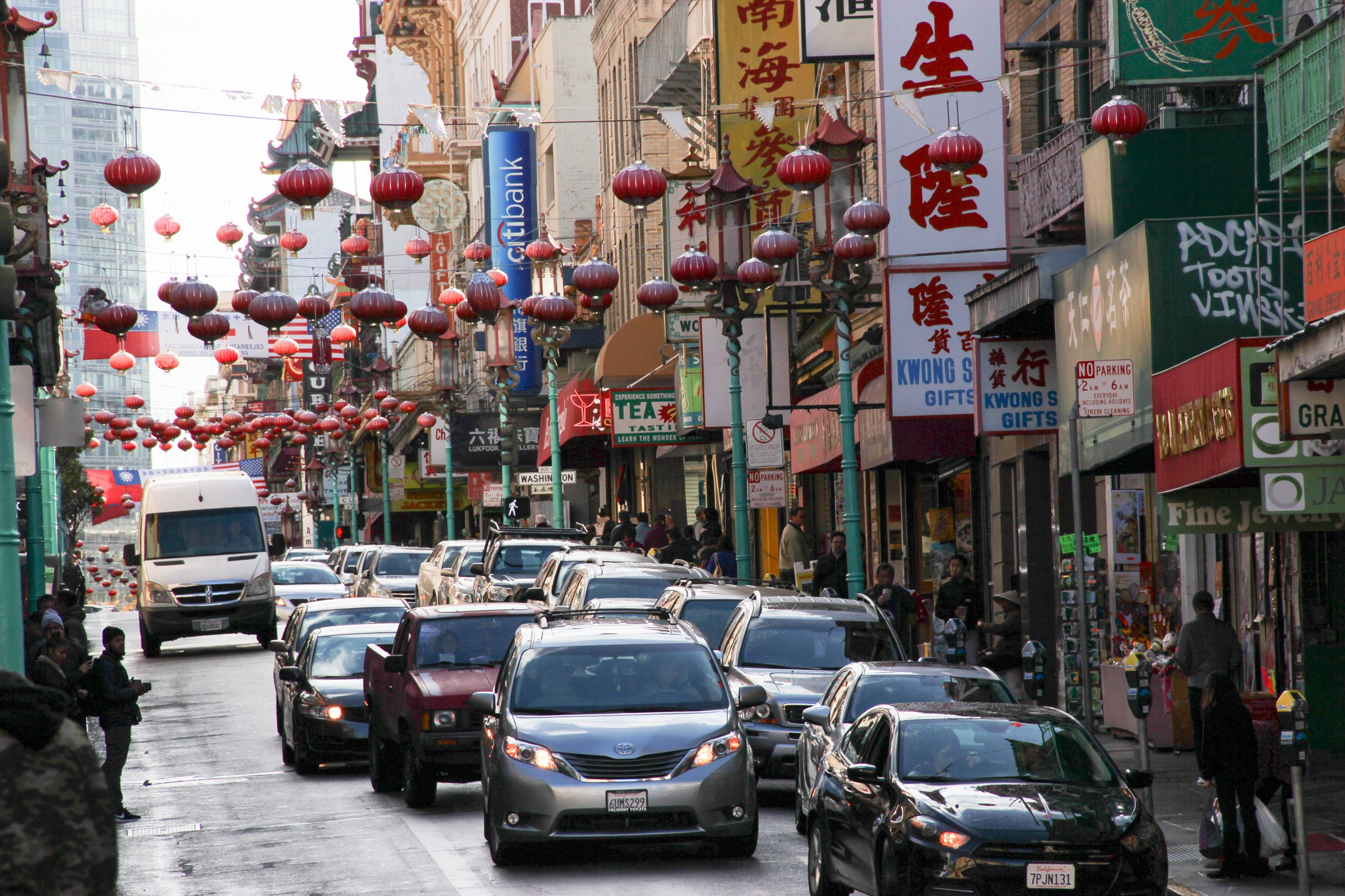 Cars on Street Through Chinatown