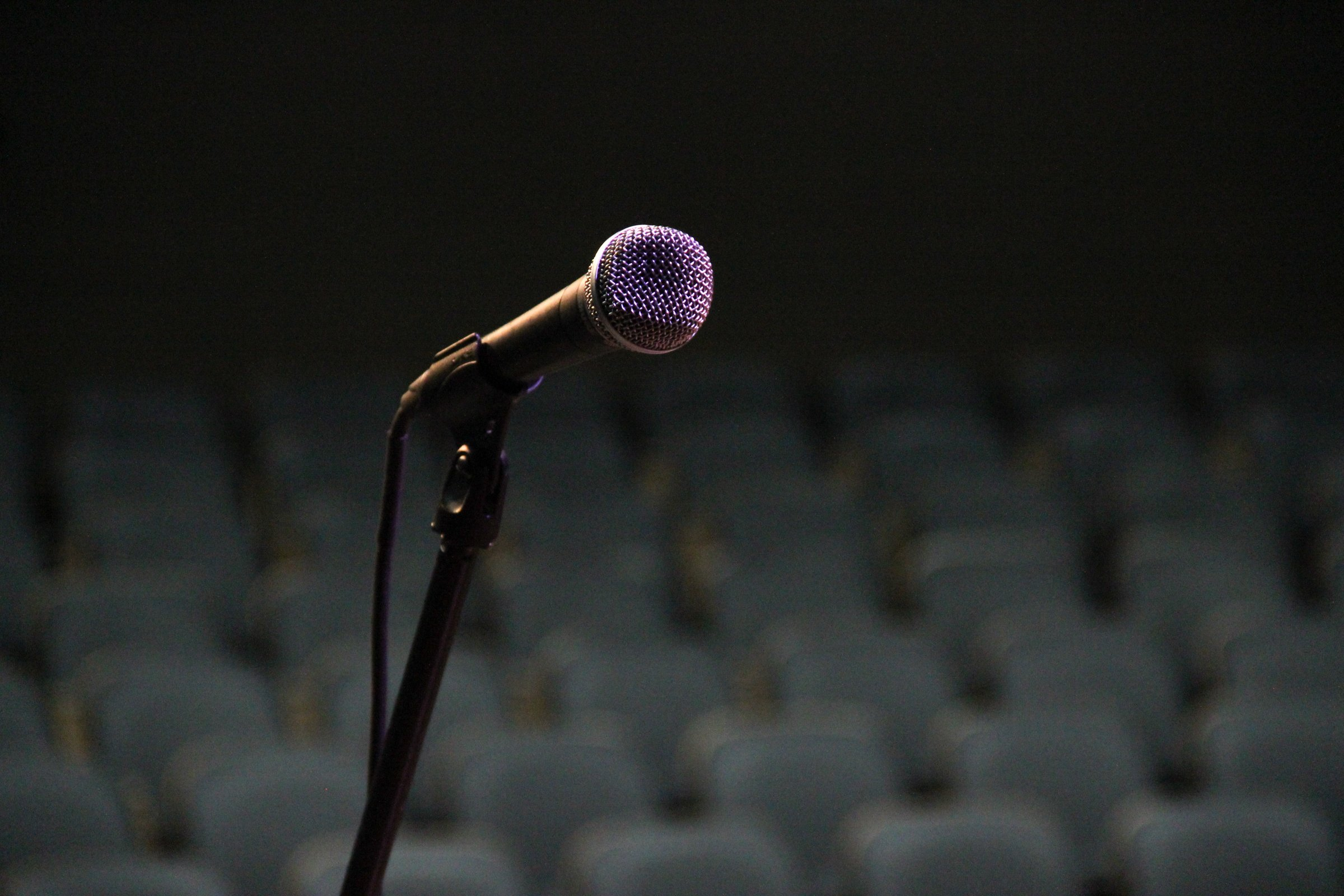 Microphone in Front of Empty Seats