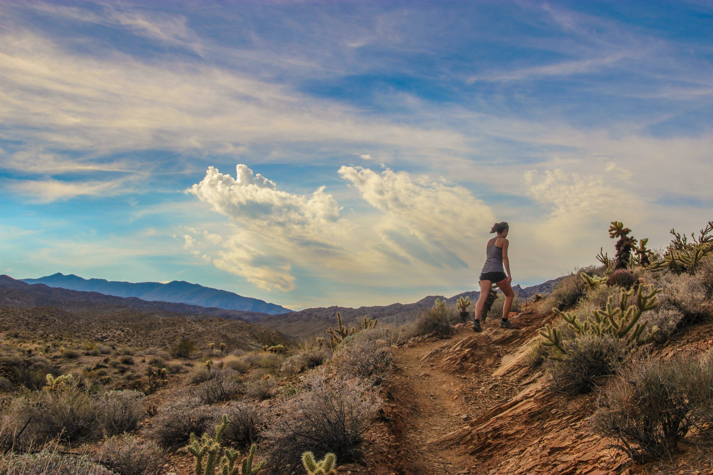Woman Hiking on Desert Path