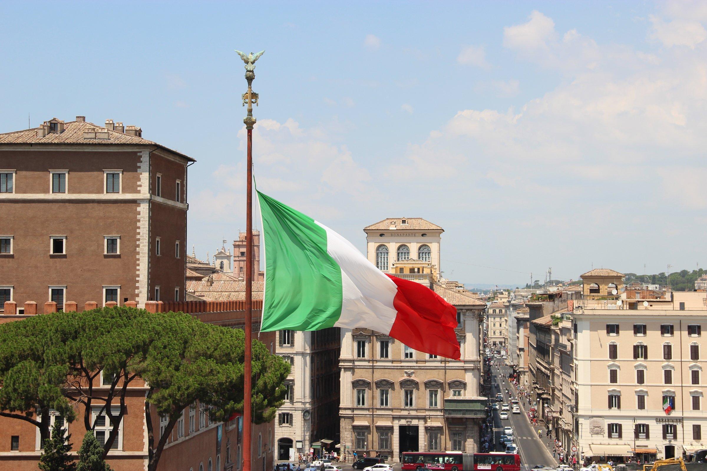 Italian Flag Over City