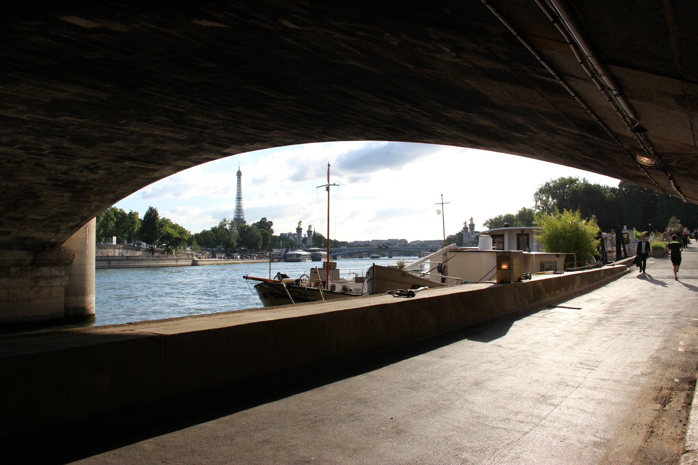 Under Bridge With View Of Eiffel Tower