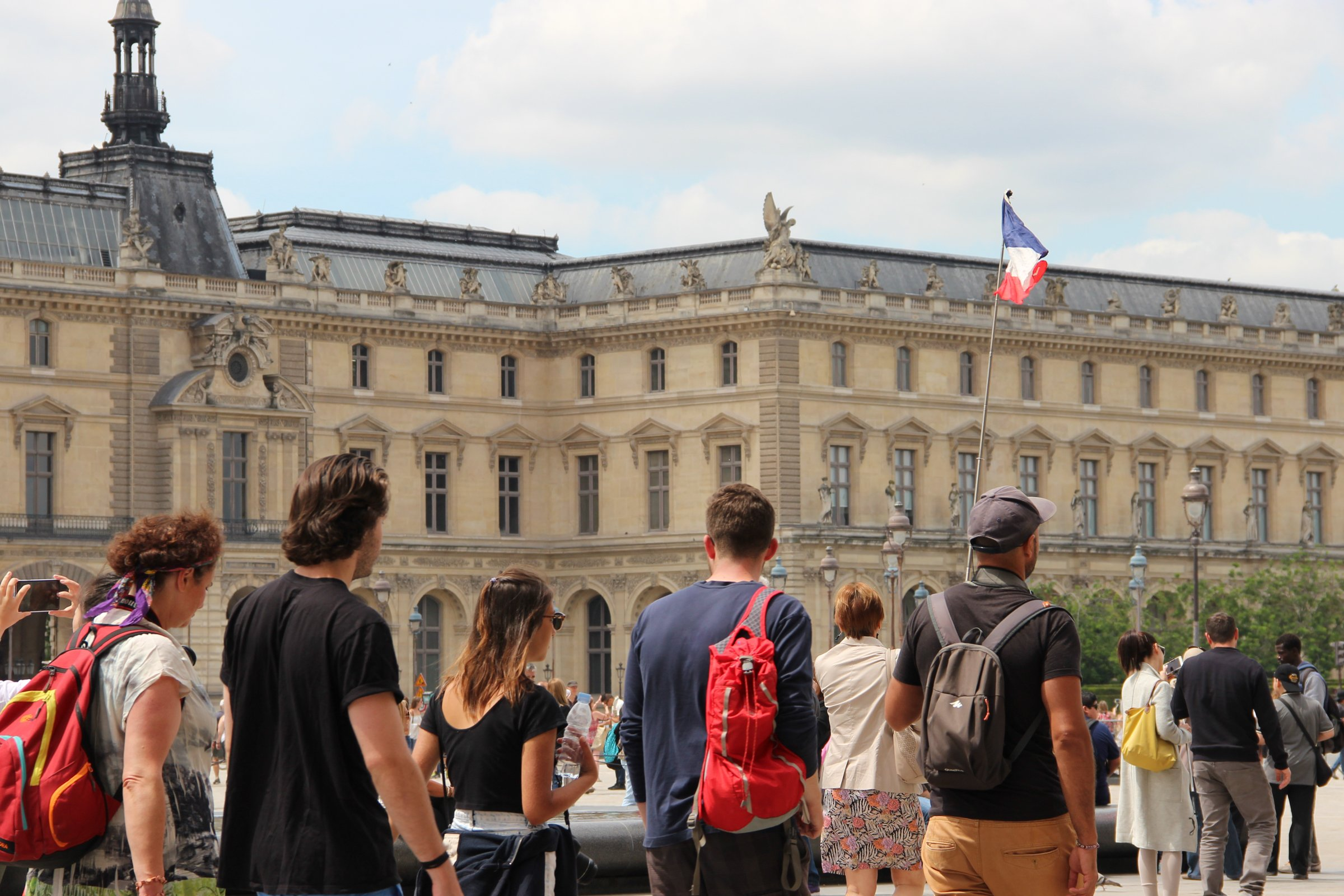 Tourists In Museum Courtyard