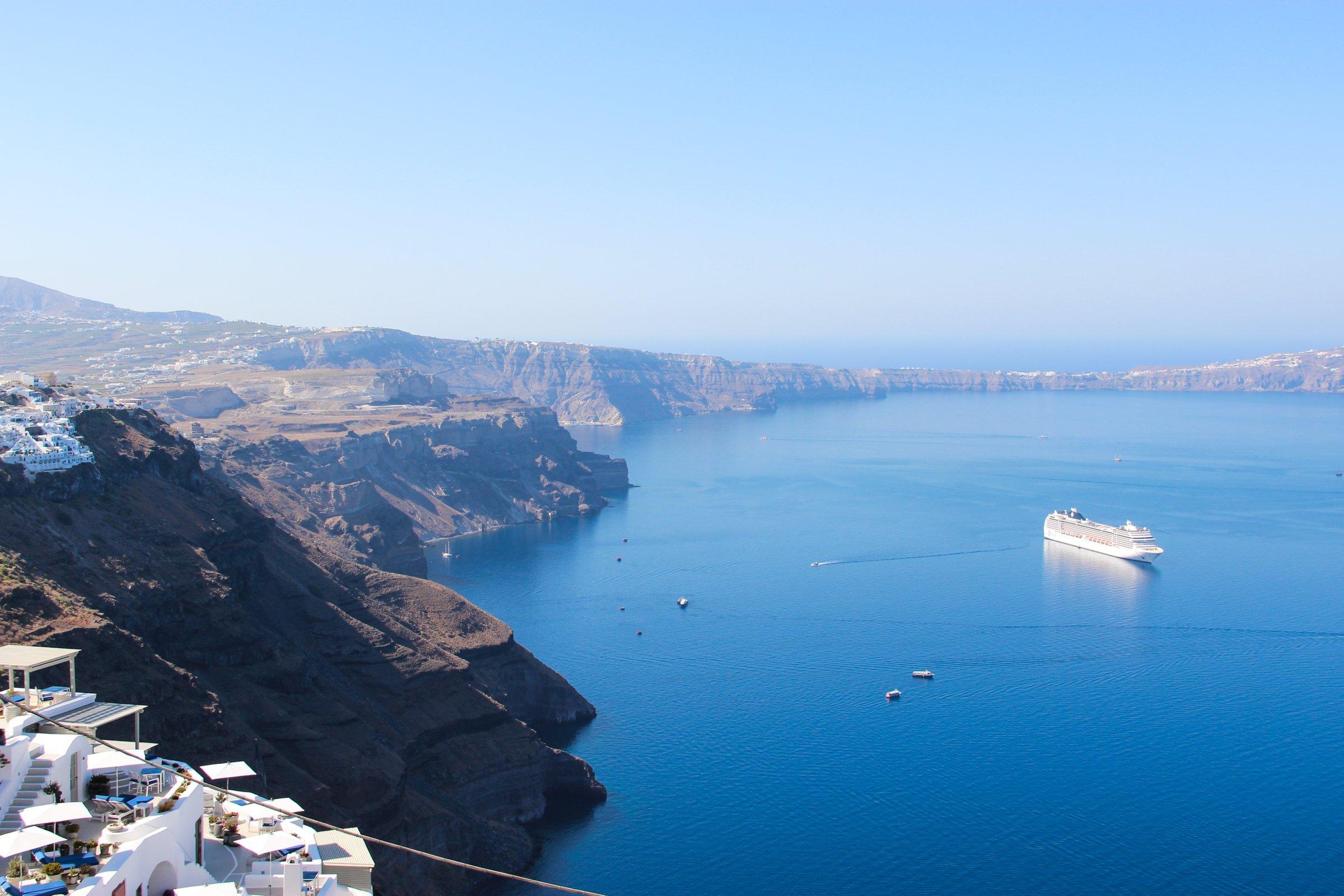 Ship In Coastal Bay Of Santorini