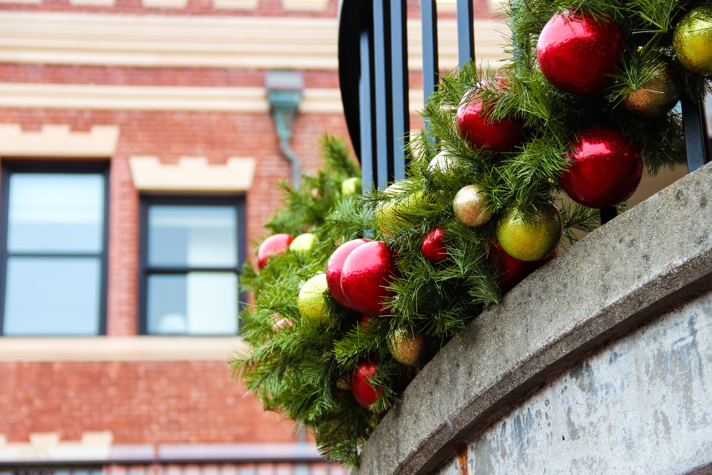 Christmas Decorations On Building Exterior
