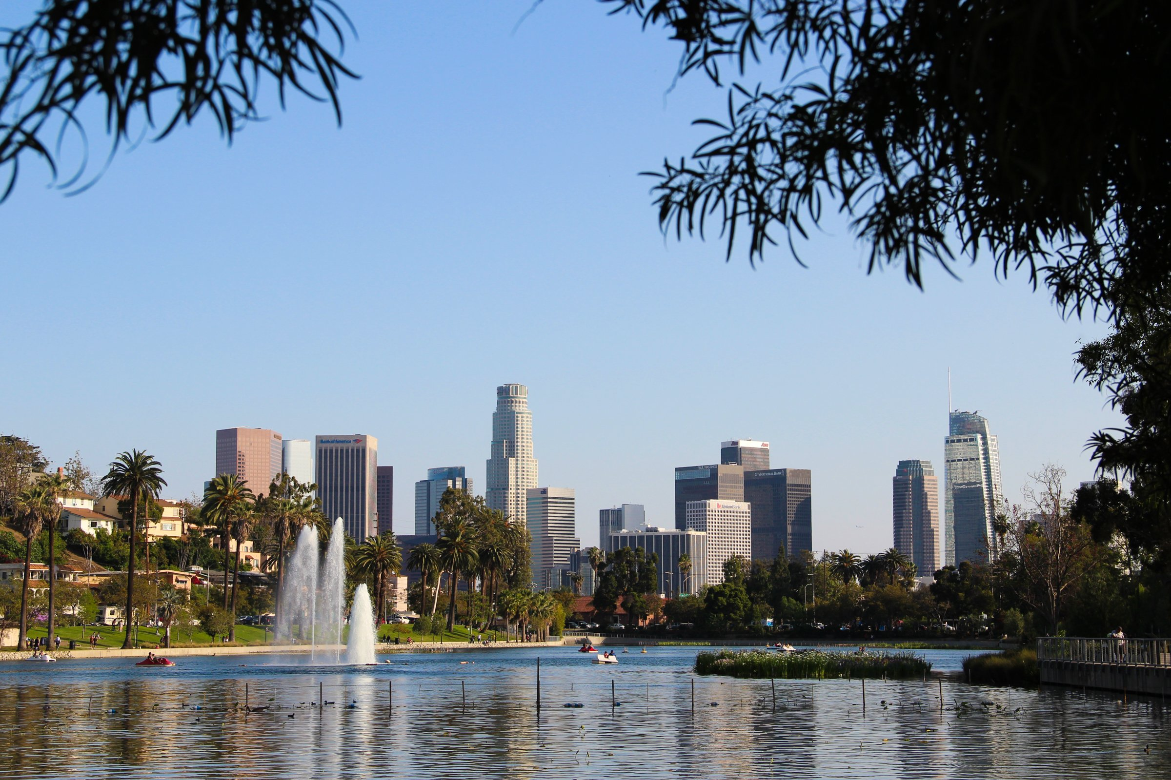 Los Angeles Skyline On Lake