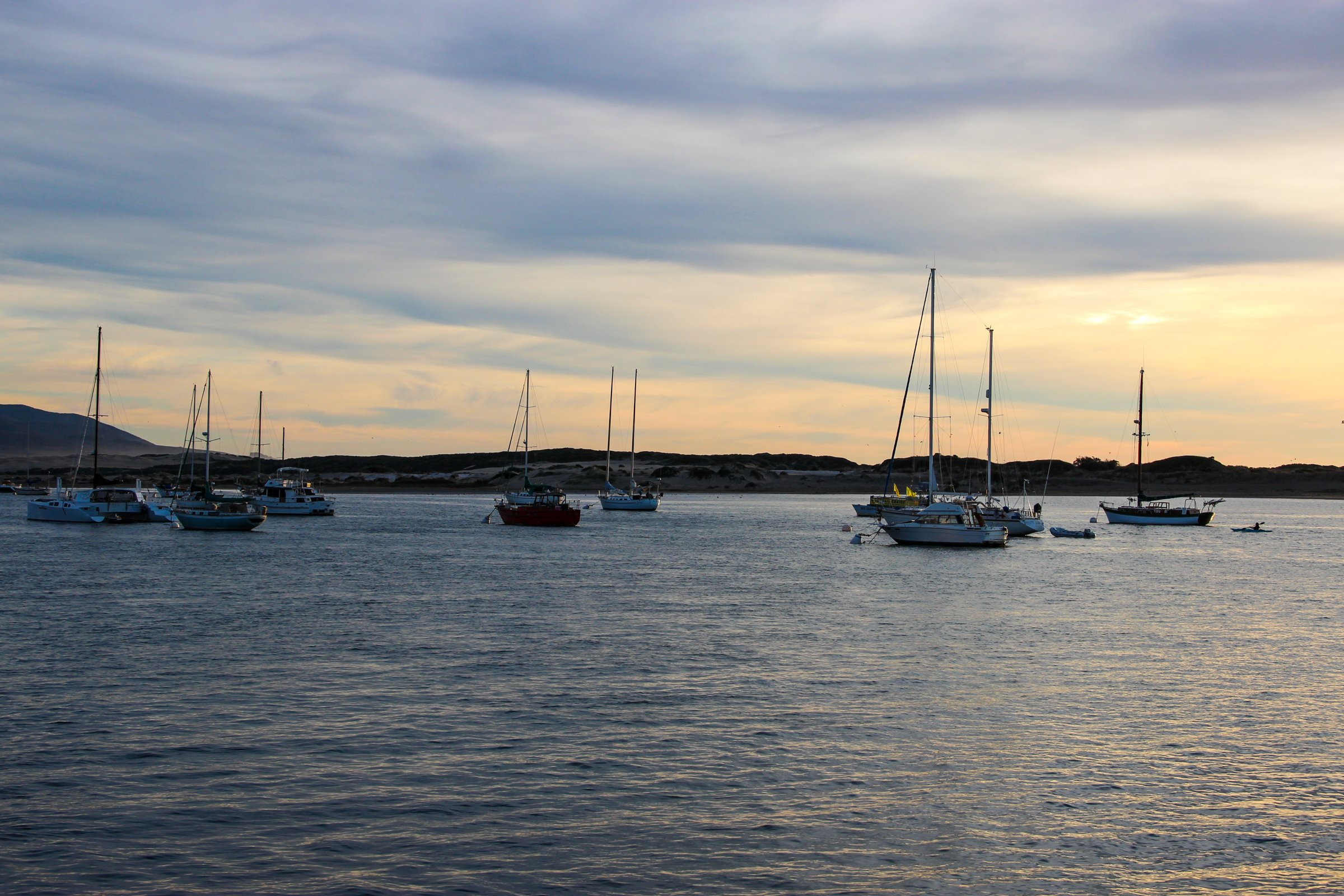 Sailboats Near Shore In Evening