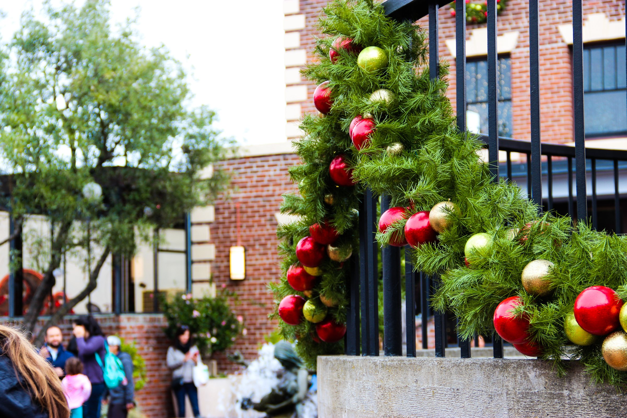 Christmas Decorations On Railings