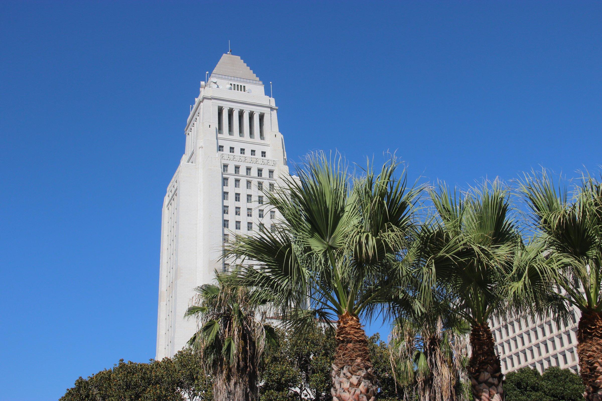 City Hall Tower Among Palm Trees