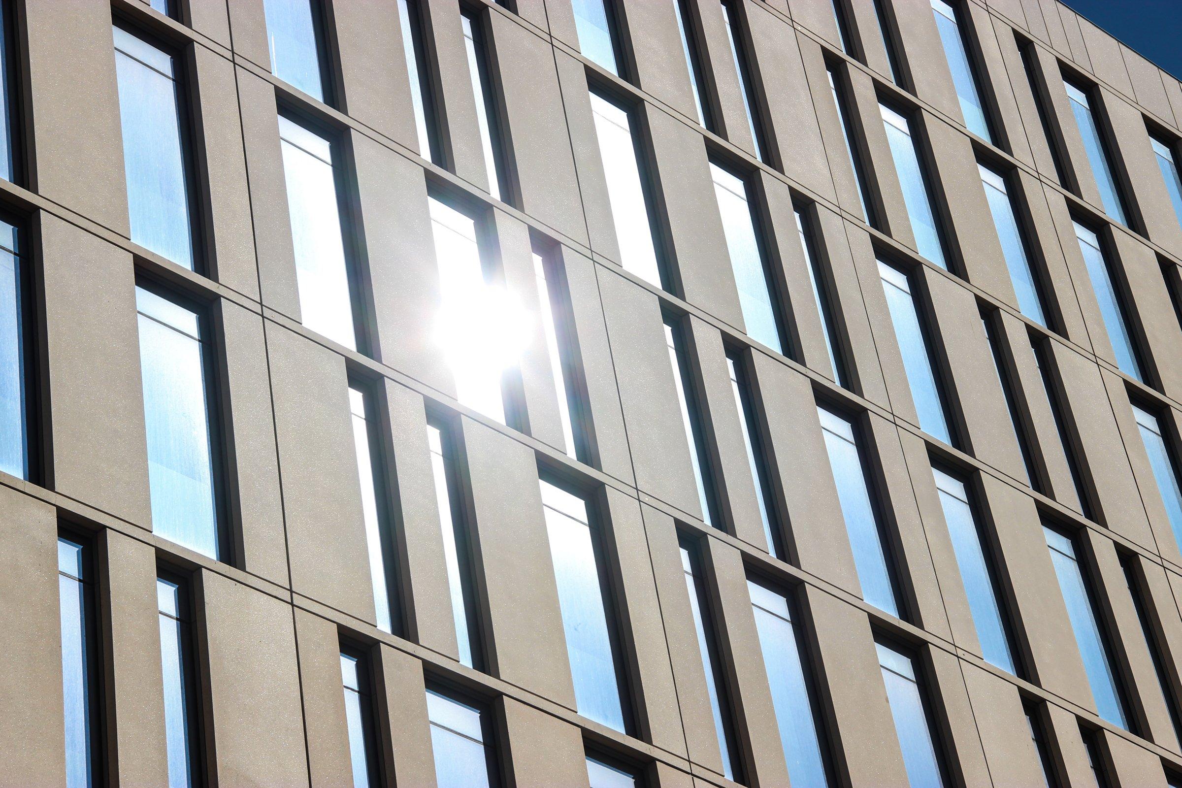 Sun Reflecting On Building Windows