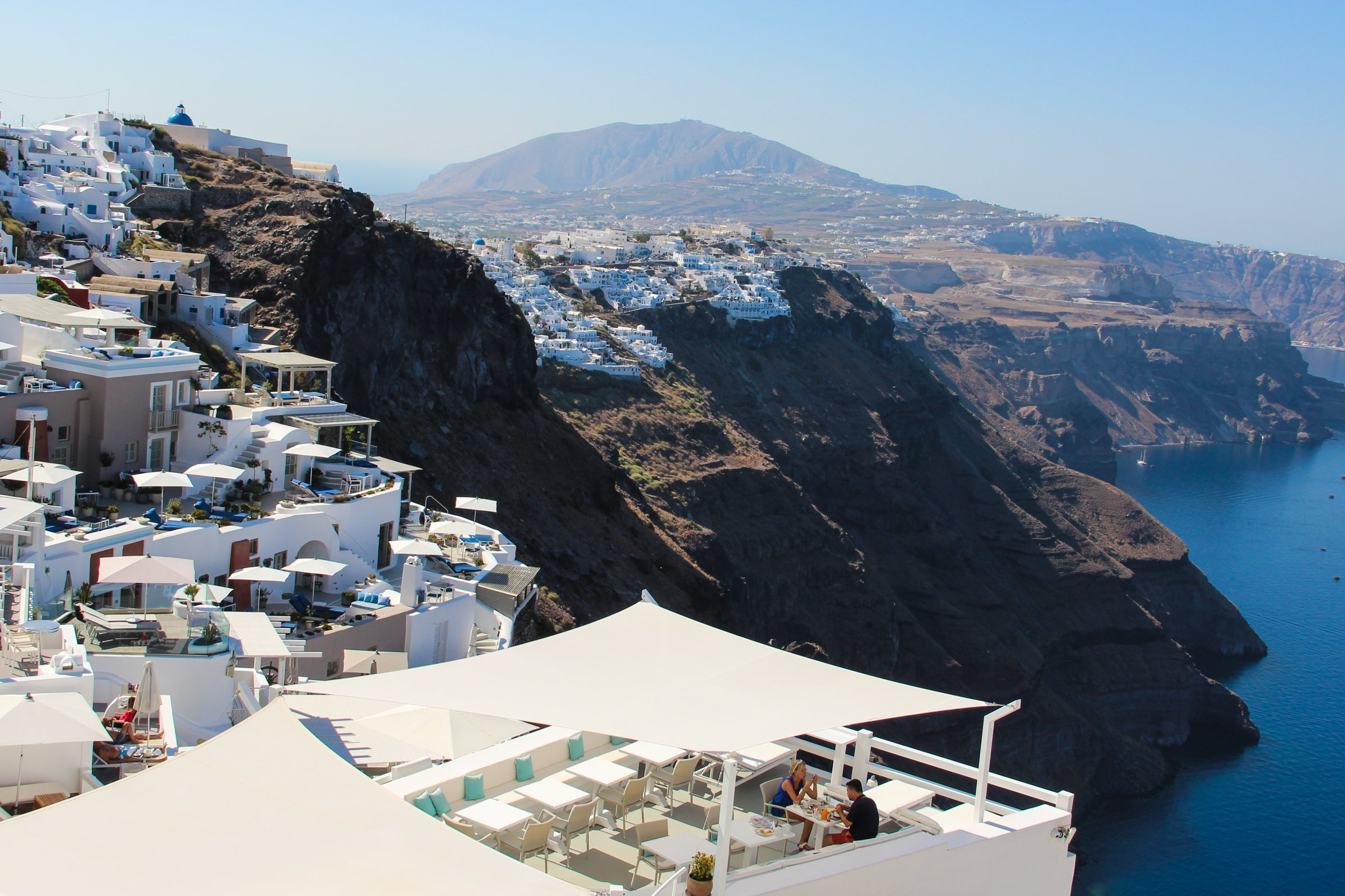 Cliff Resorts And Buildings In Santorini Island