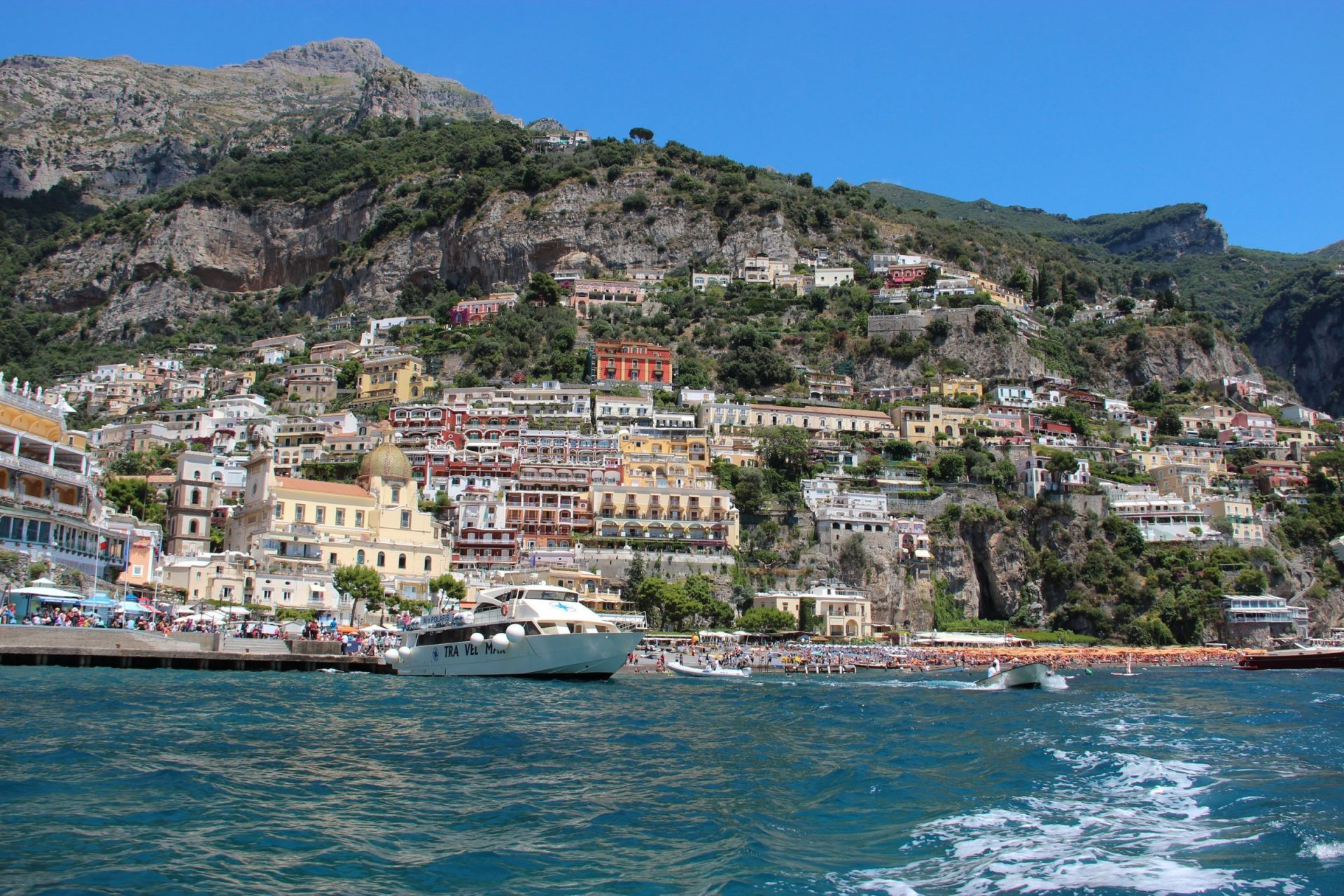 Colorful Buildings On Cliff In Amalfi Coast