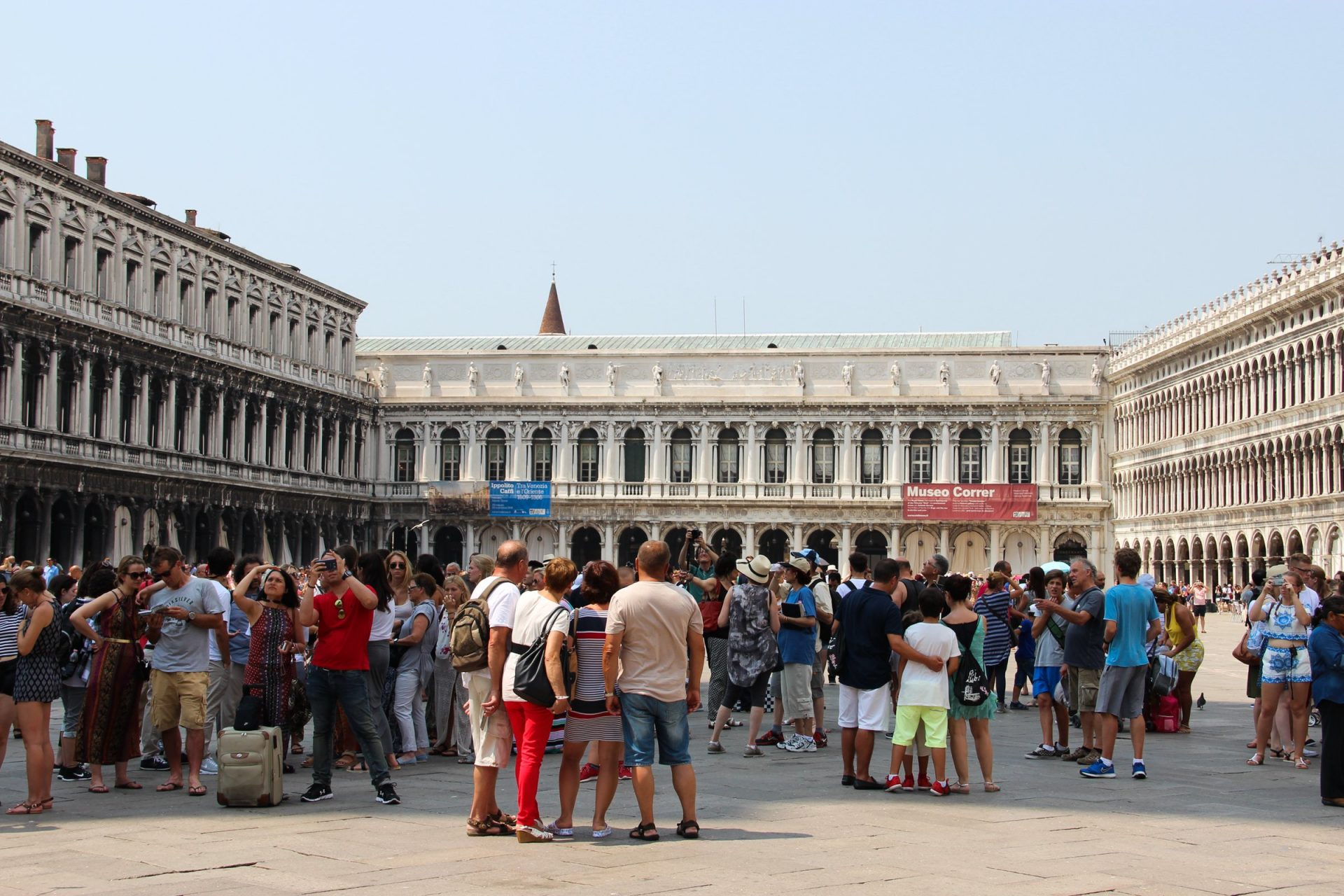 Groups Of Tourists In St Mark Square In Venice