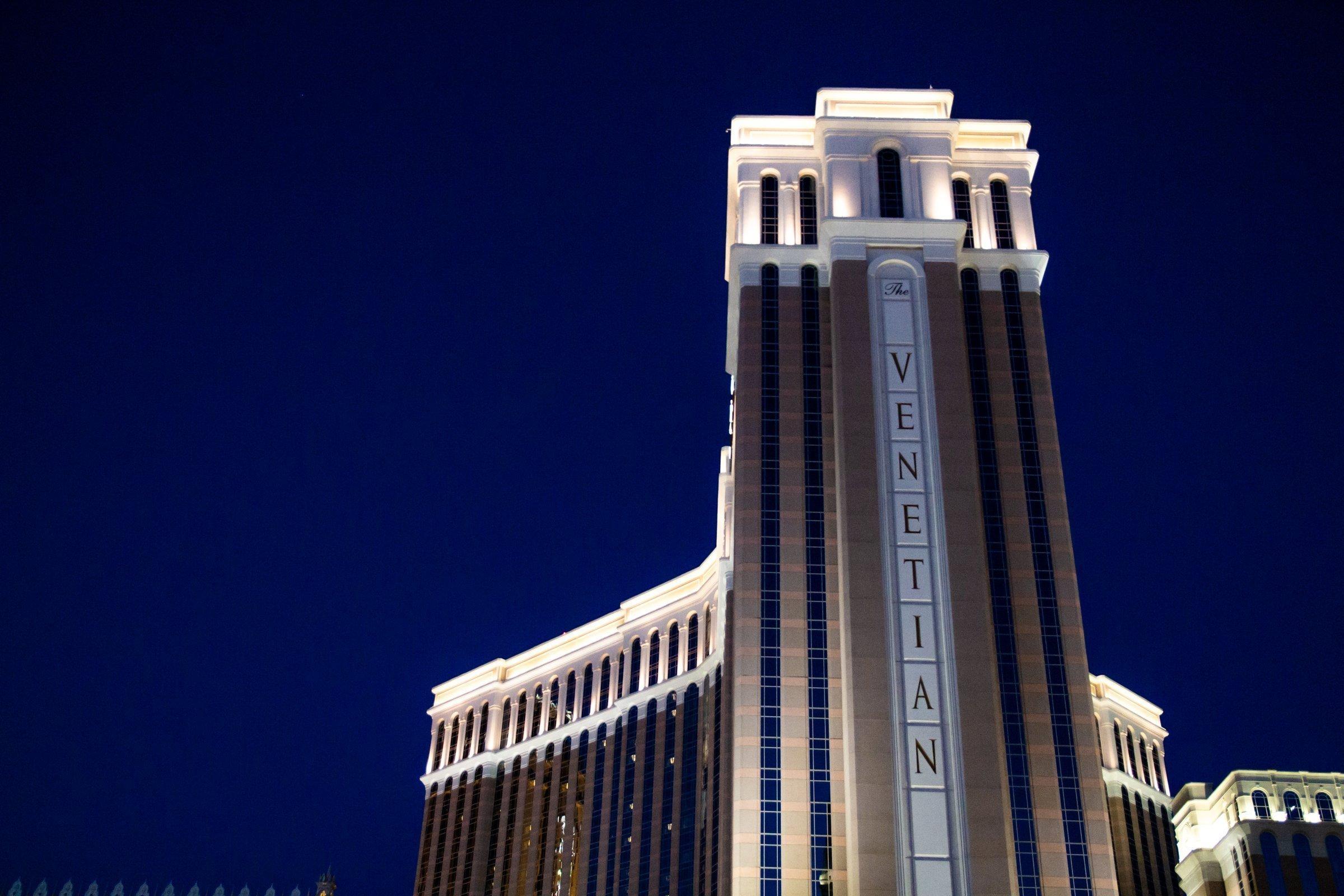 Illuminated The Venetian Hotel At Night