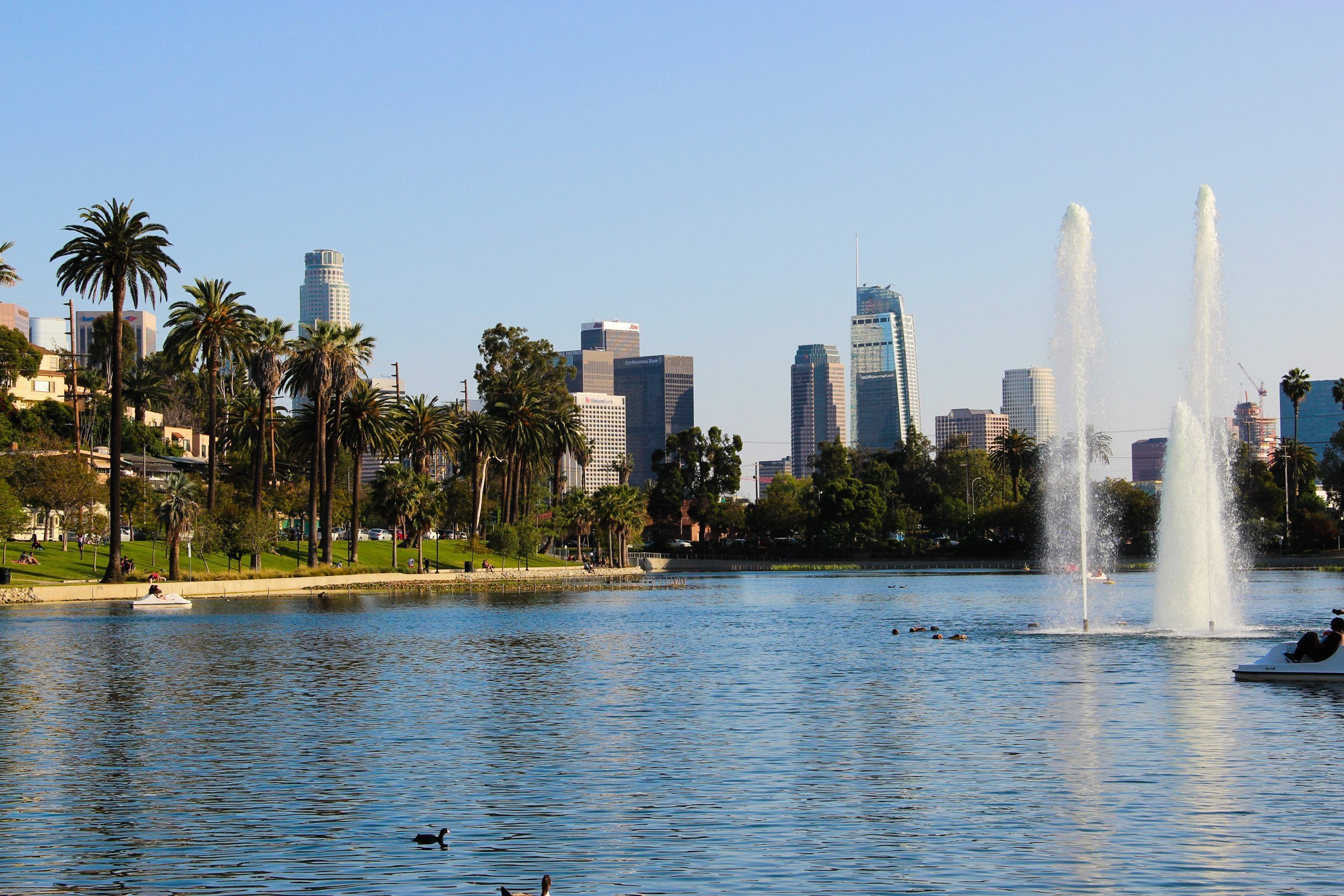 Free Stock Photo of Los Angeles Skyline From Park Lake