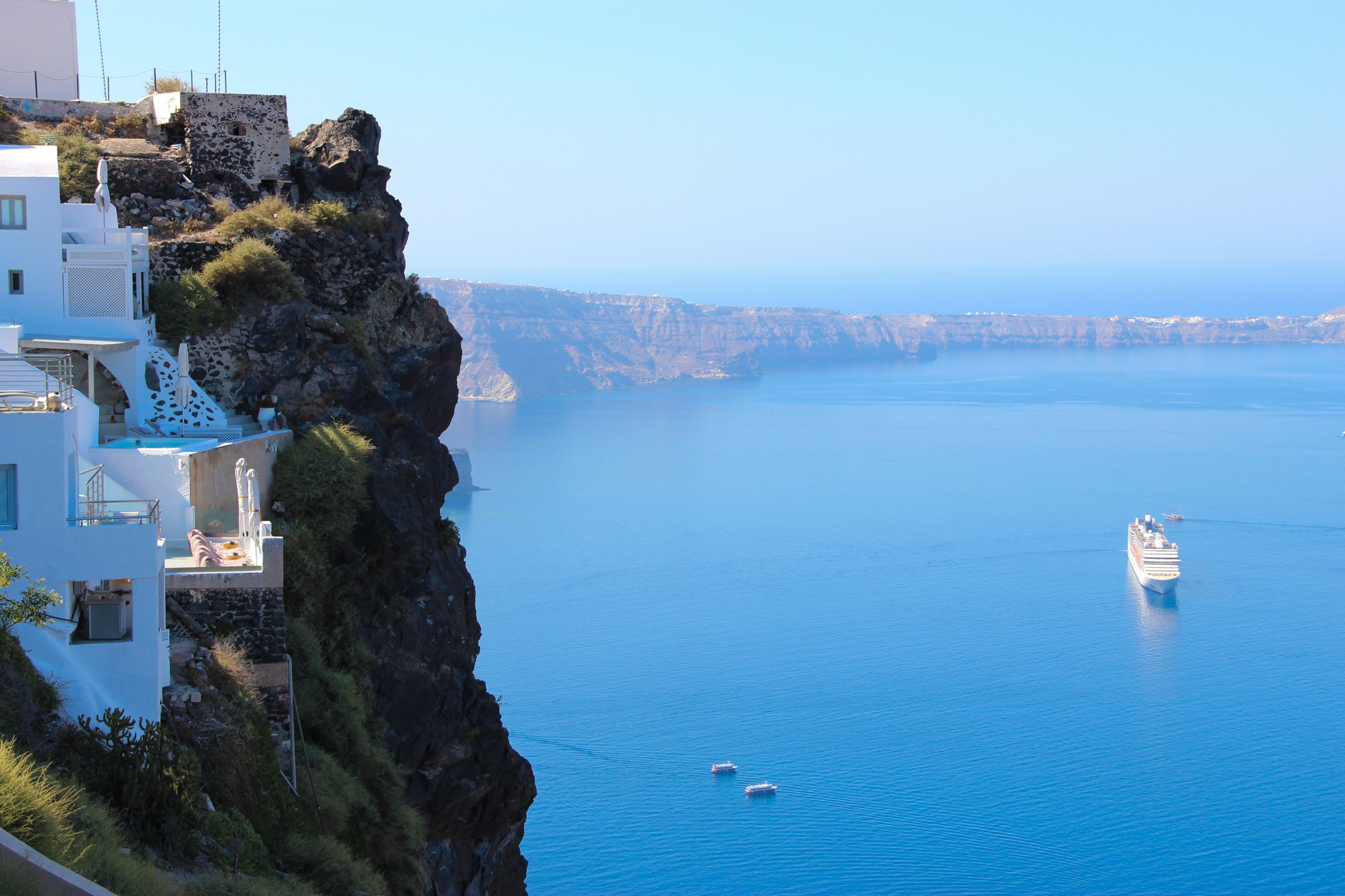Cliff Coastline Of Santorini Island