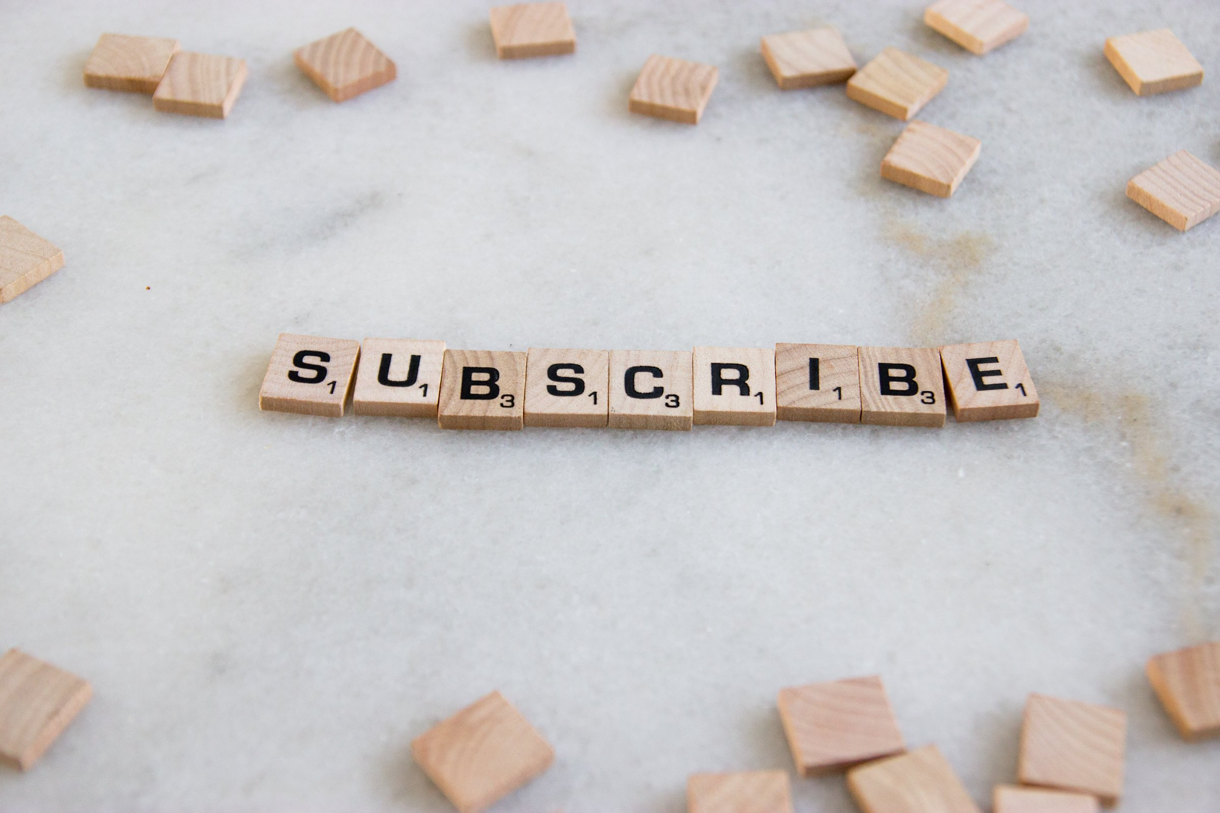 Word Subscribe In Scrabble Tiles