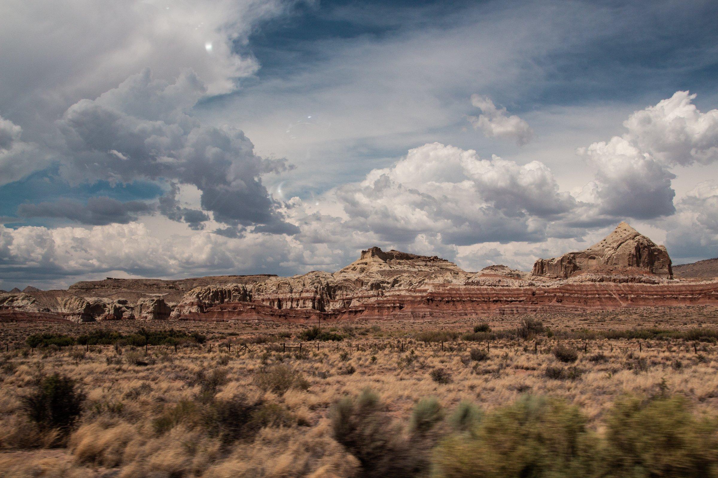 Cloudy Sky Over Desert Mountains