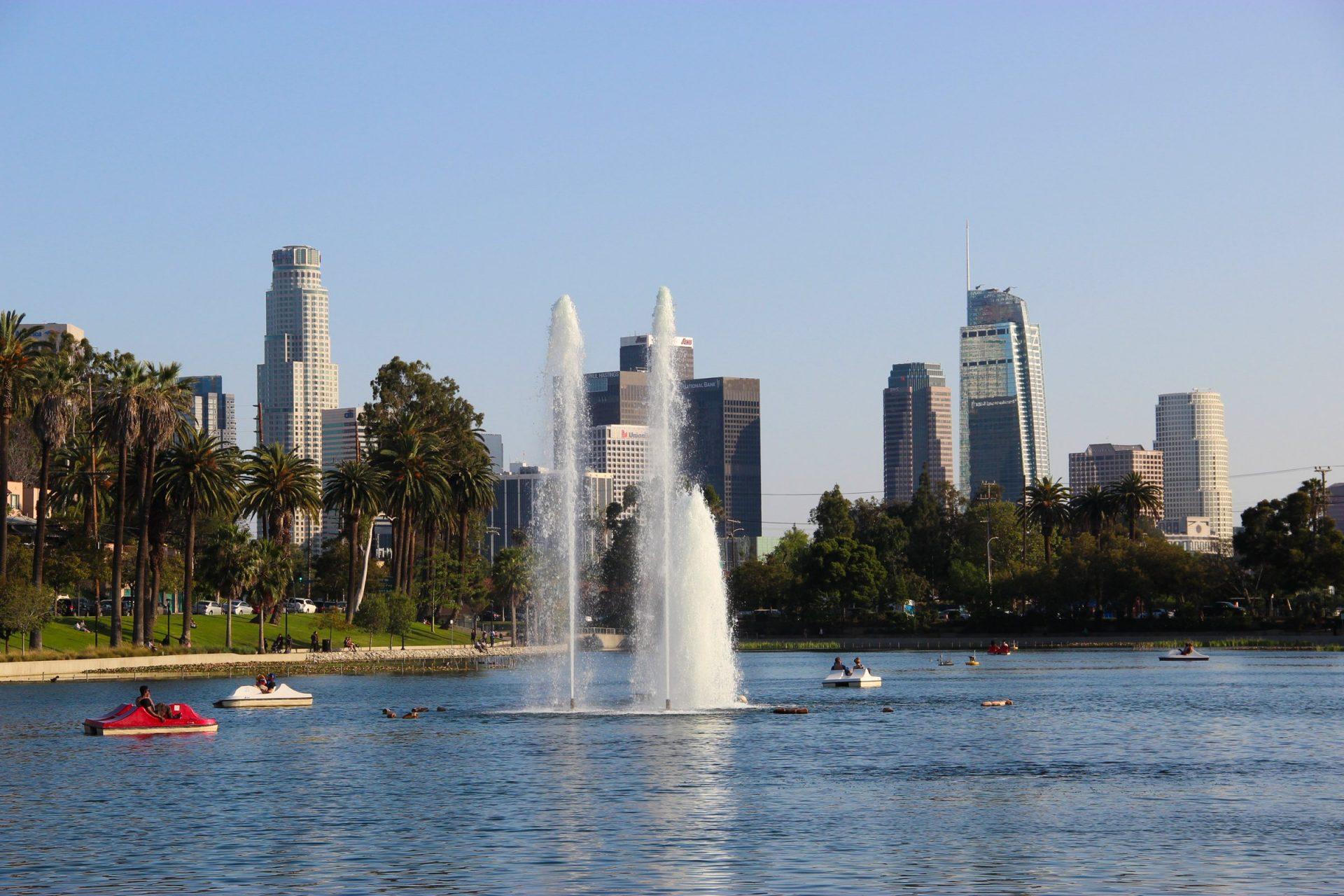 Los Angeles Skyline Behind Fountain In Park
