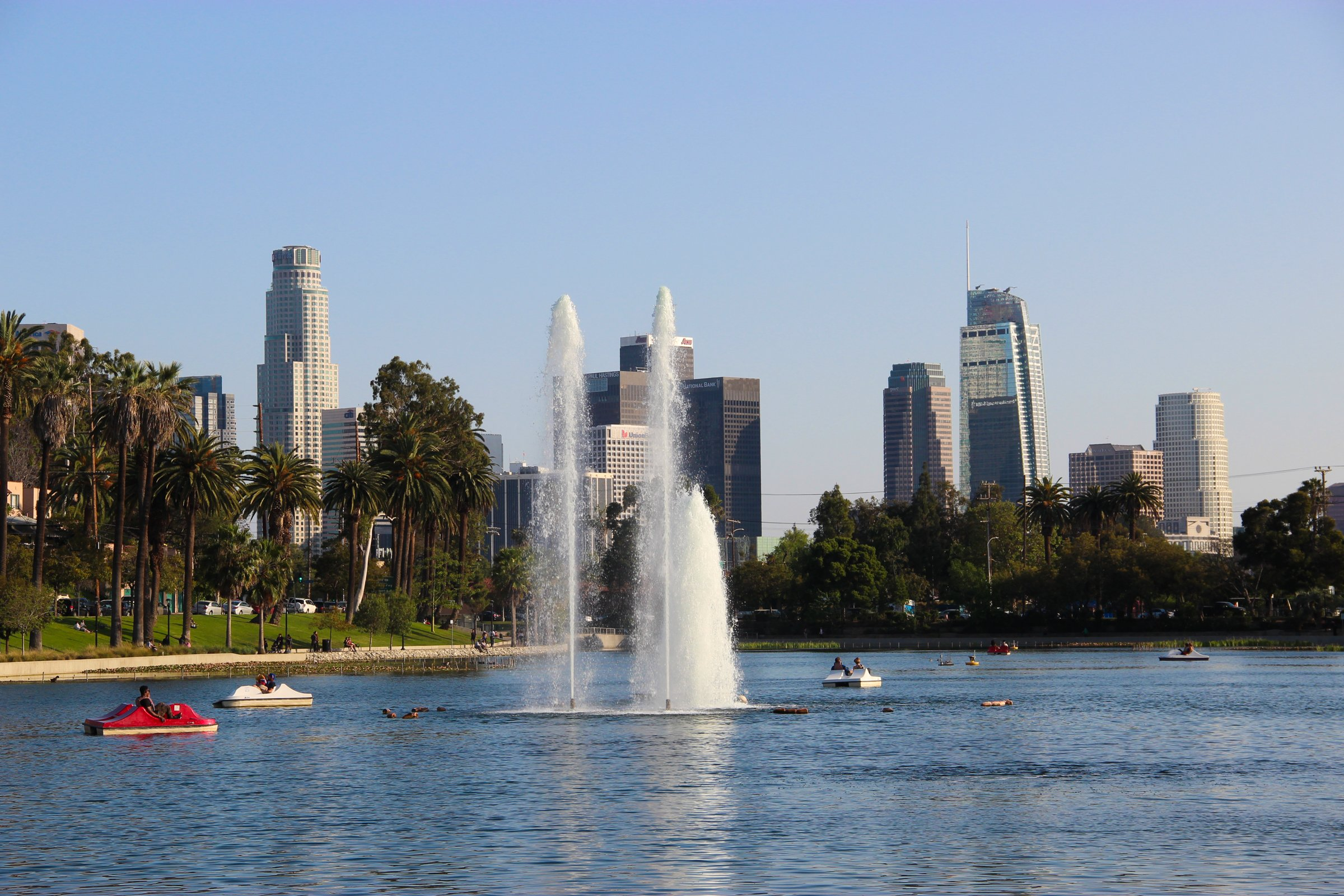 Los Angeles Skyline Behind Fountain In Park