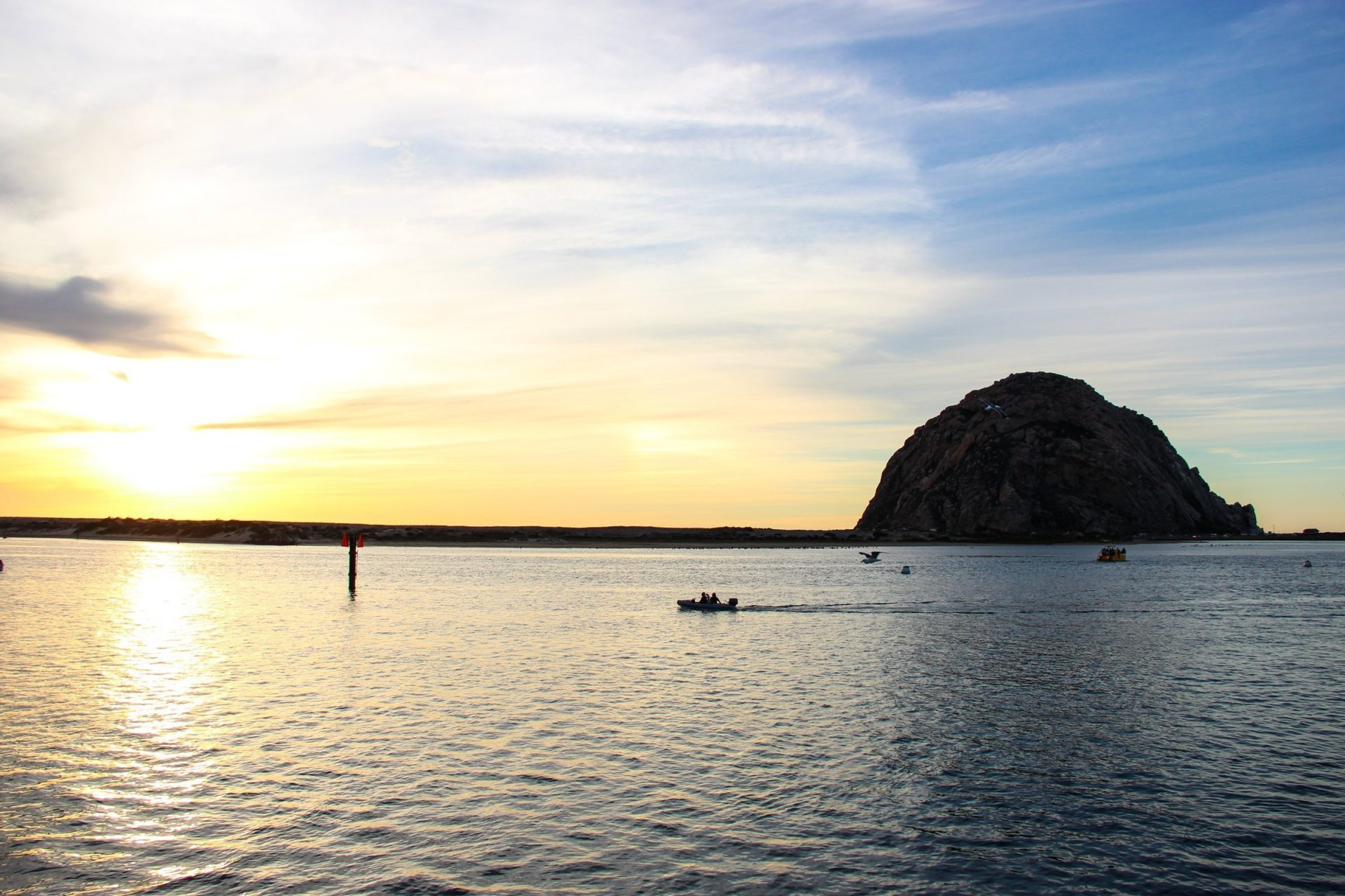 Sunset Over Morro Bay In California