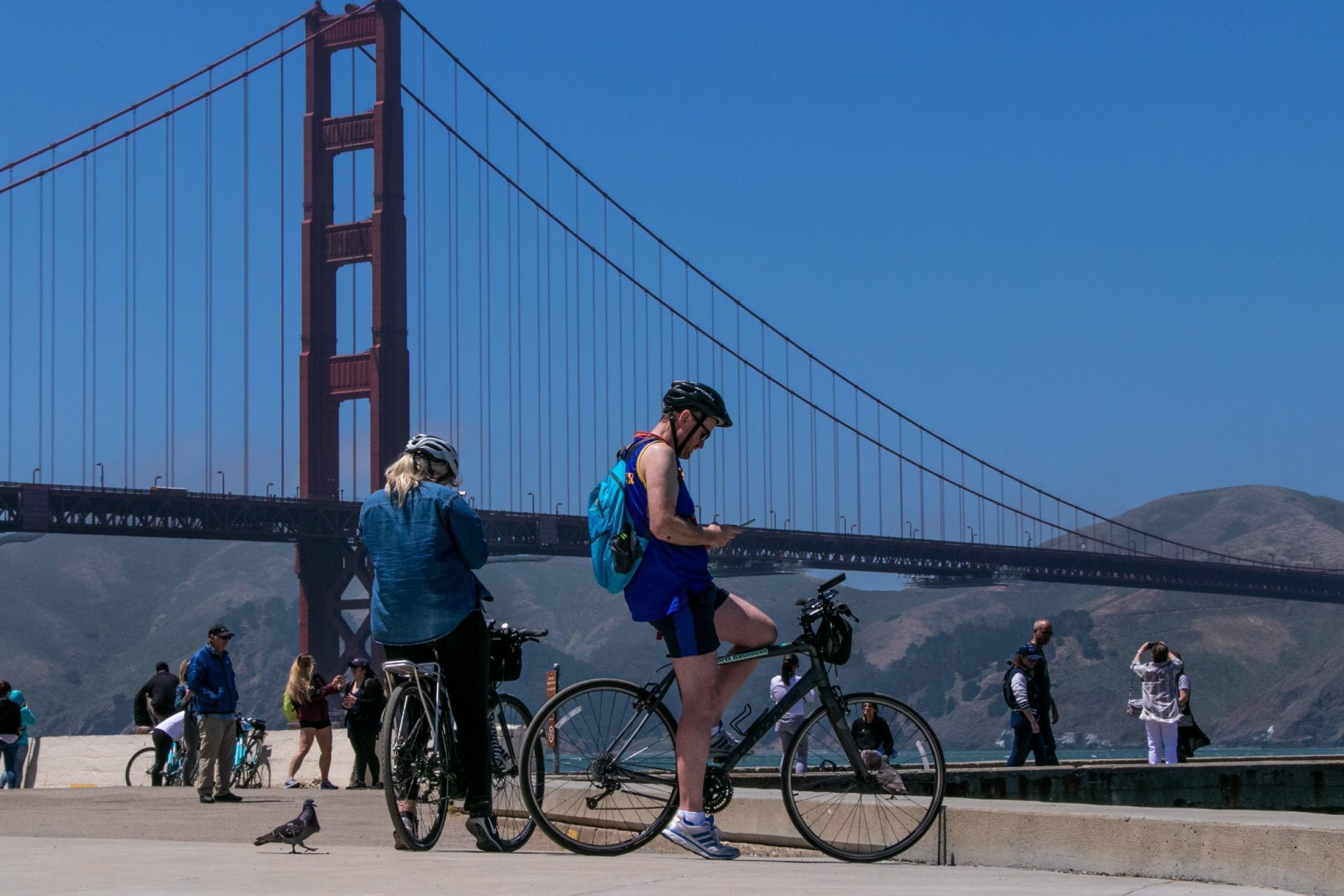 Cyclists Near The Golden Gate Bridge