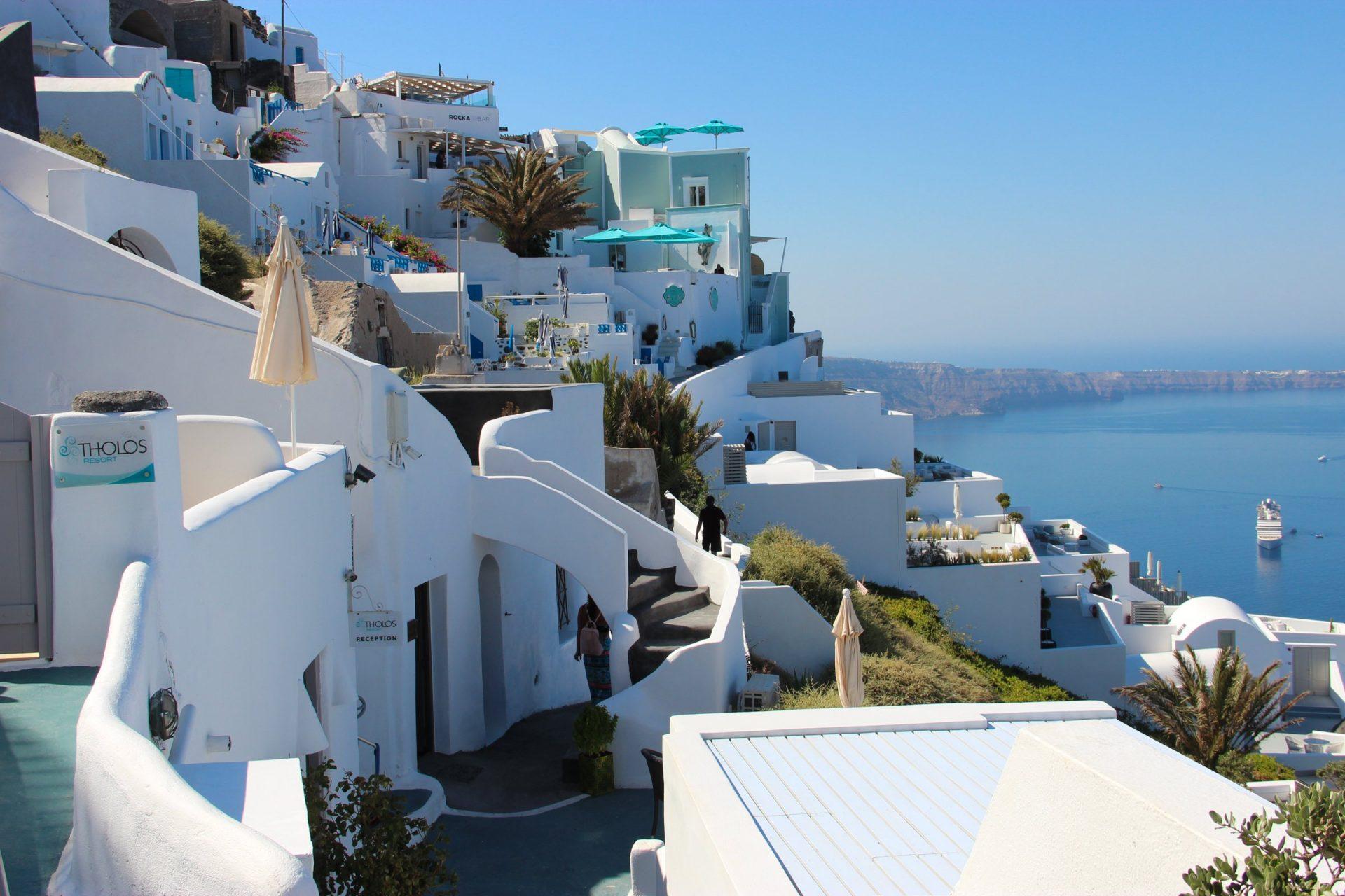 White Buildings On Cliff In Santorini Island
