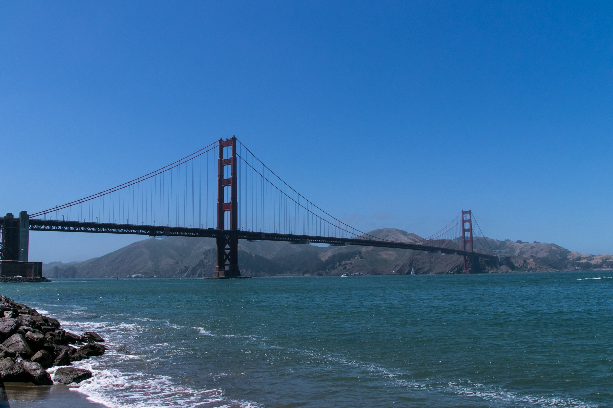 Golden Gate Bridge Between Mountains And Water