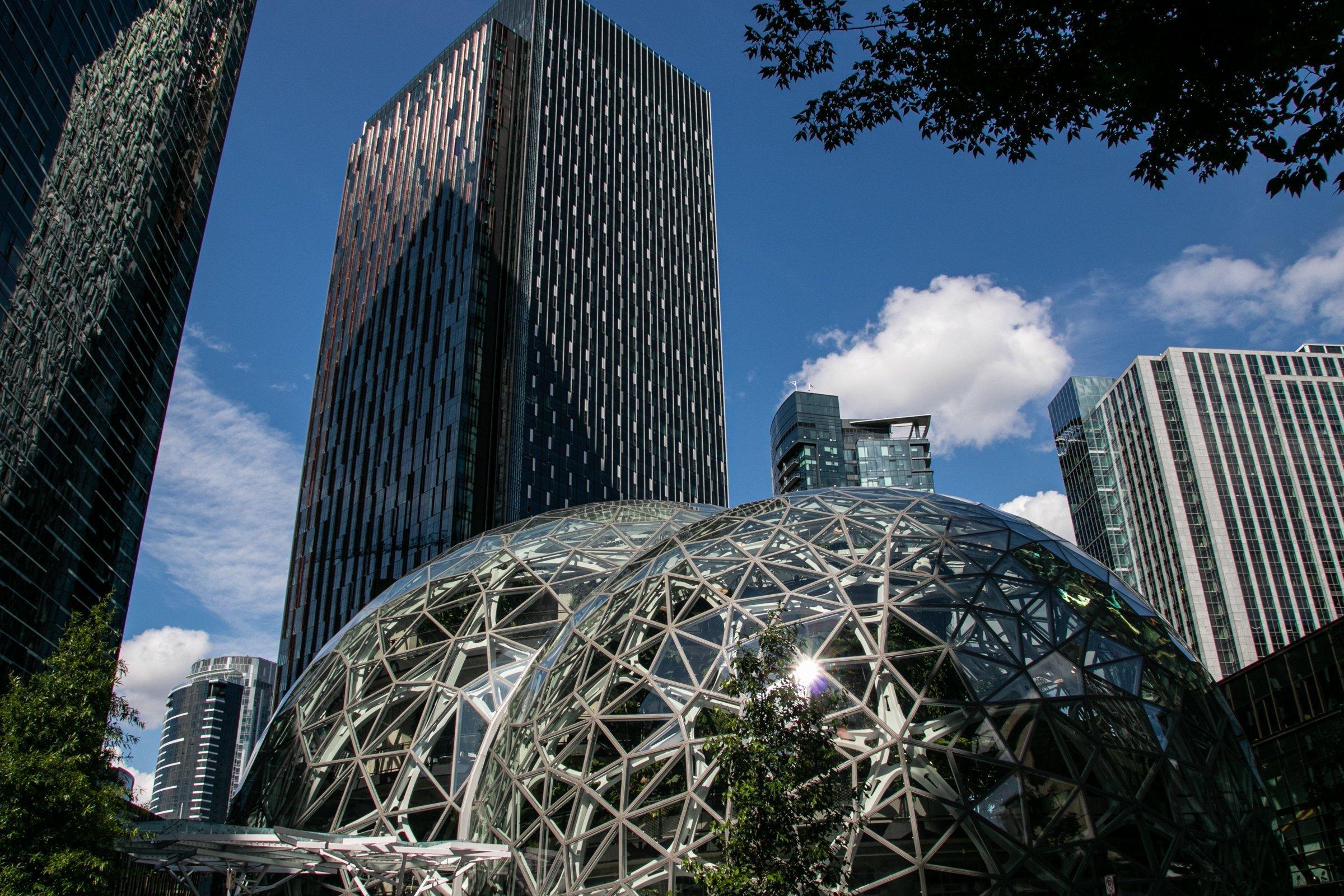Amazon Spheres Near Buildings In Seattle