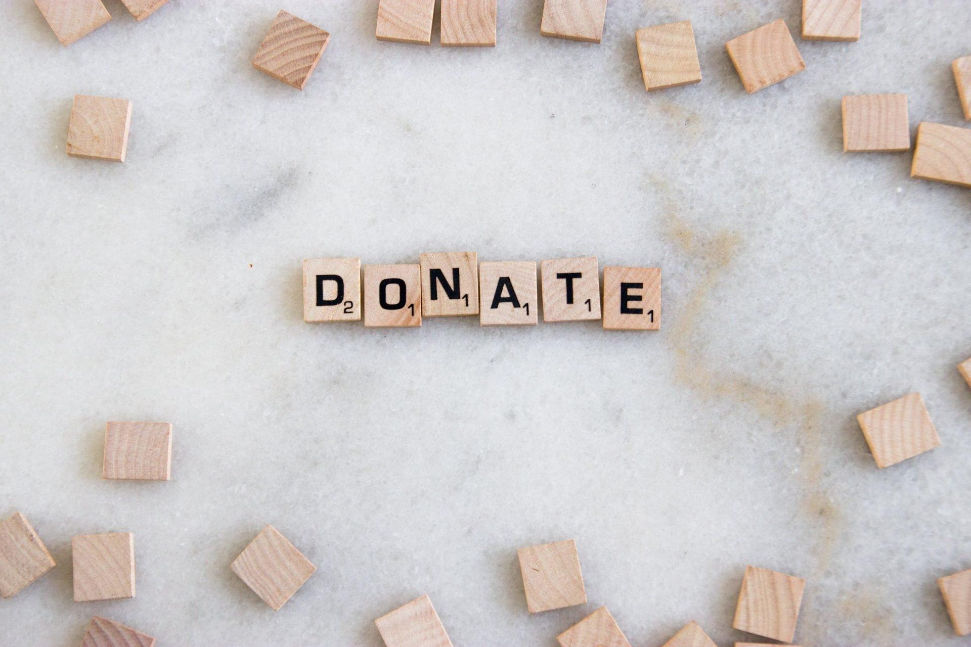 Word Donate In Scrabble Tiles