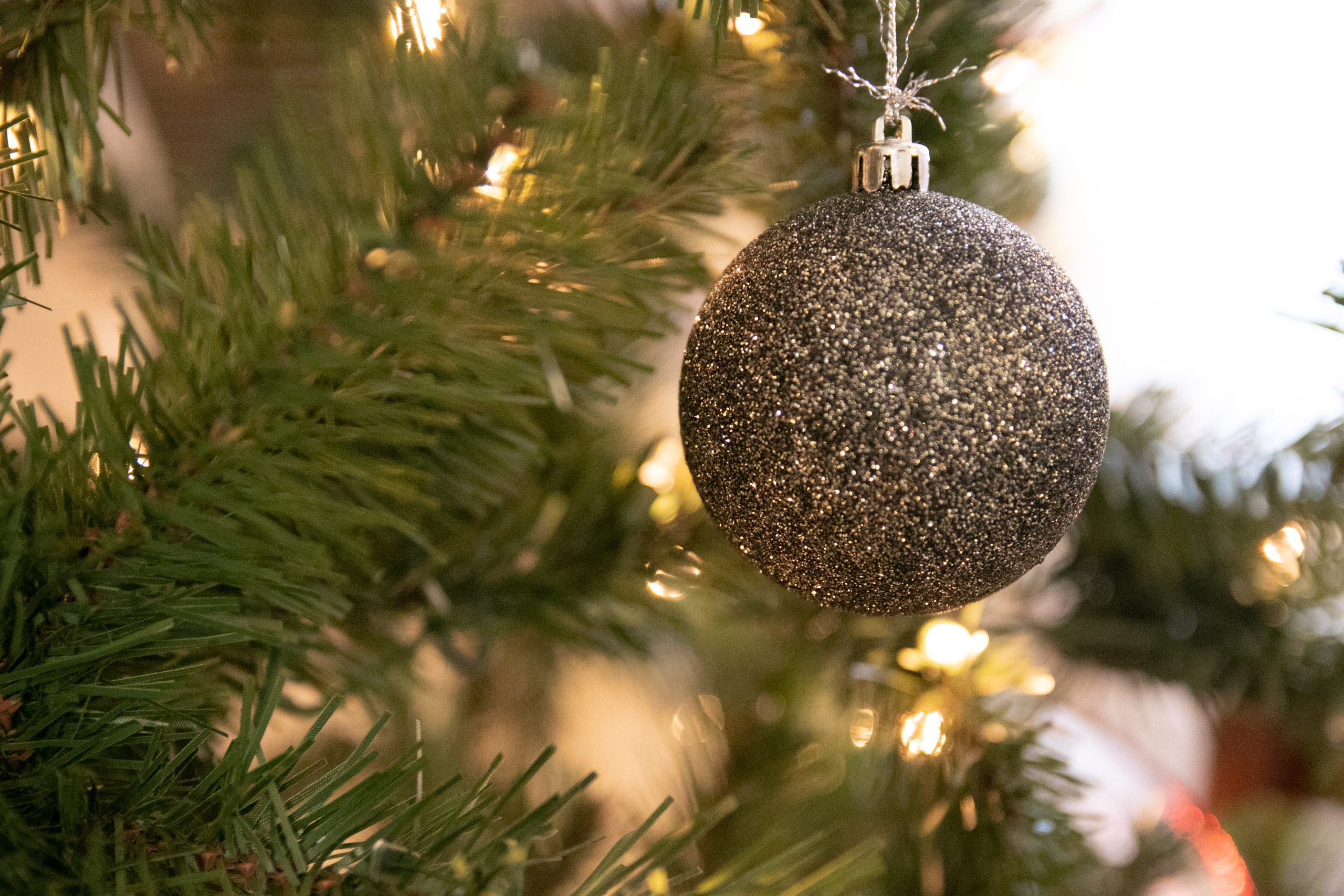 Silver Glitter Bauble Ornament Hanging From Pine Tree