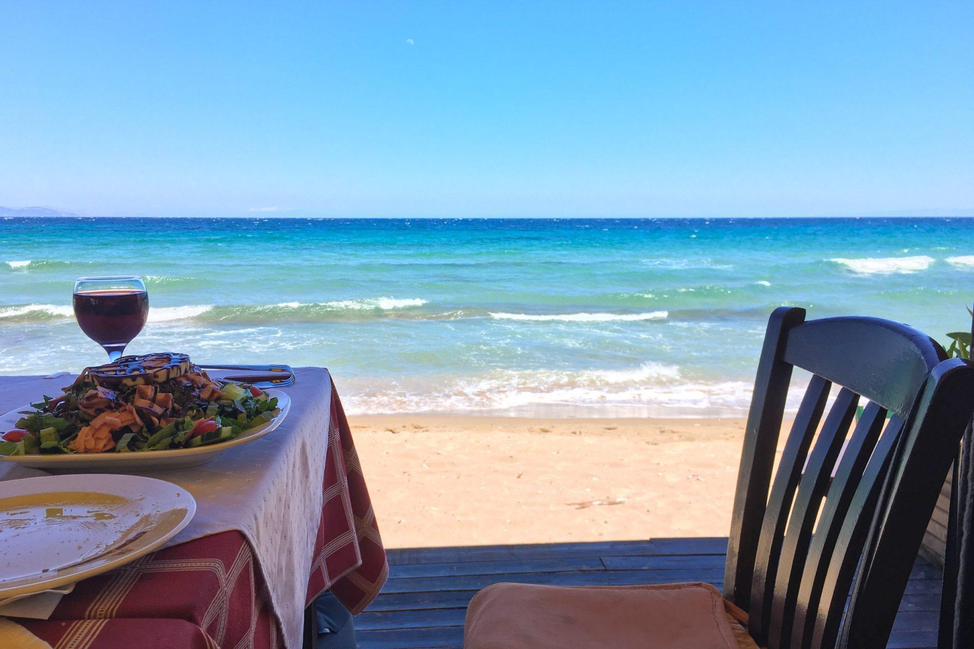 Food On Table Near Beach