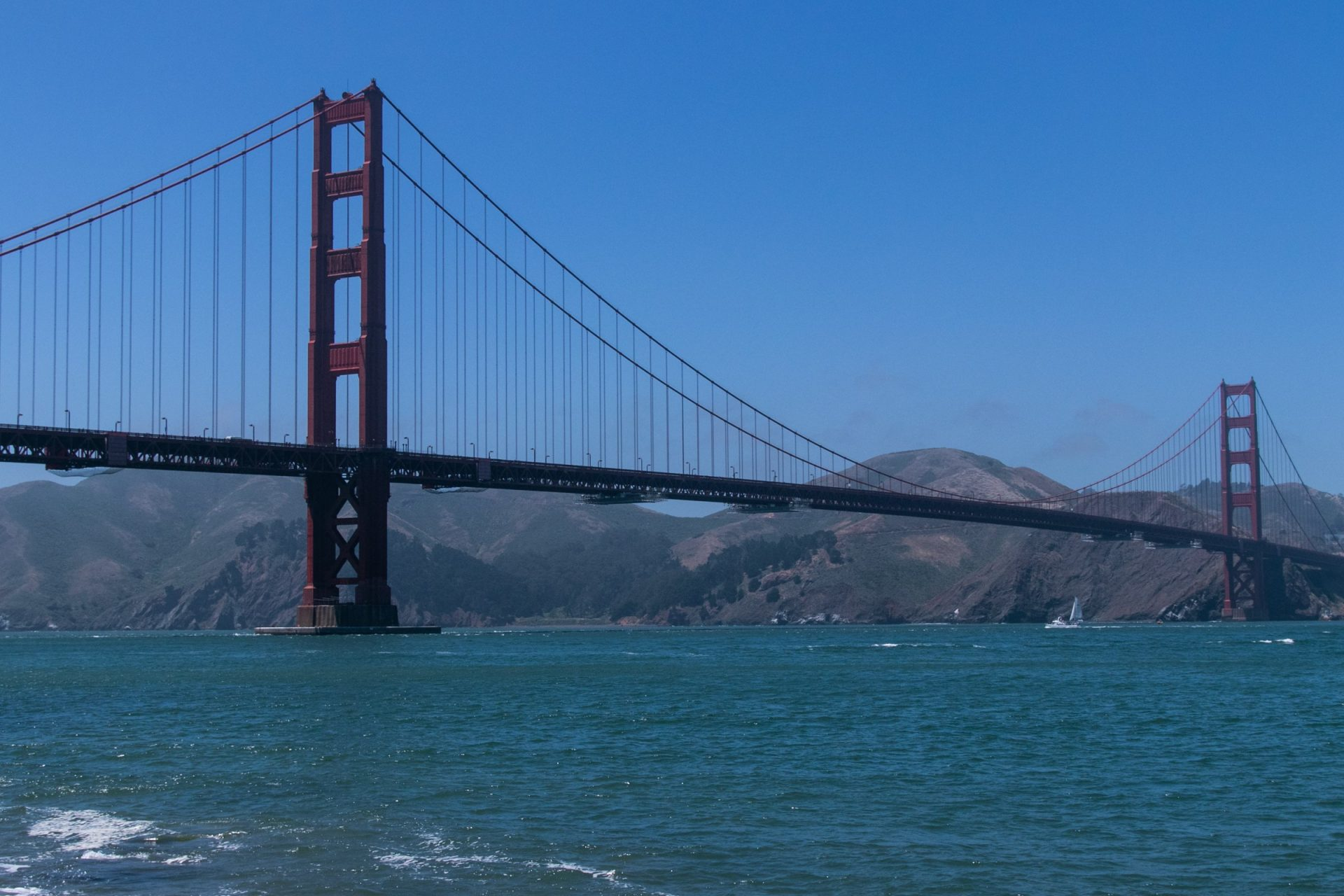 Hills Behind Towers Of Golden Gate Bridge