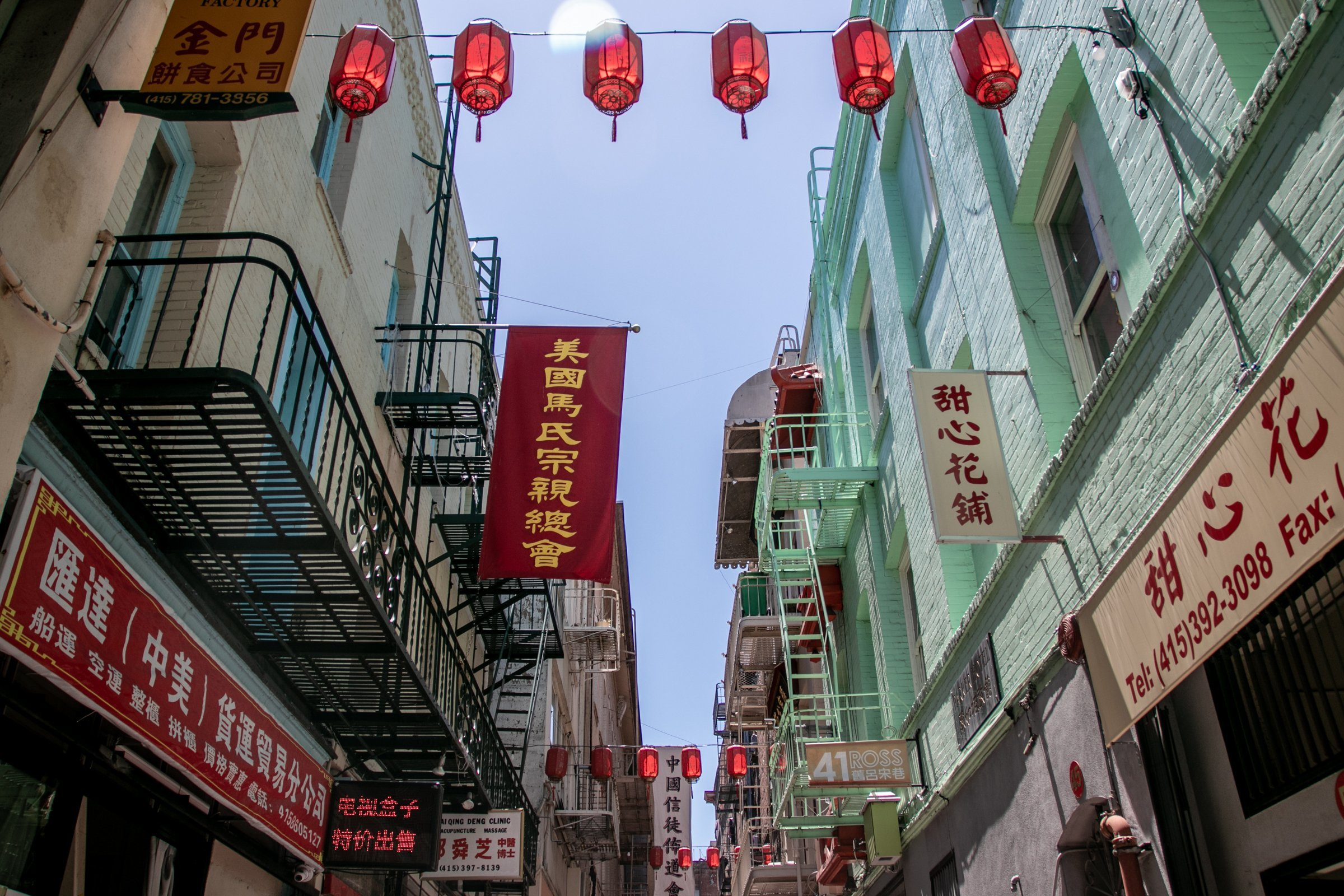 Lanterns And Shop Signs In Chinatown
