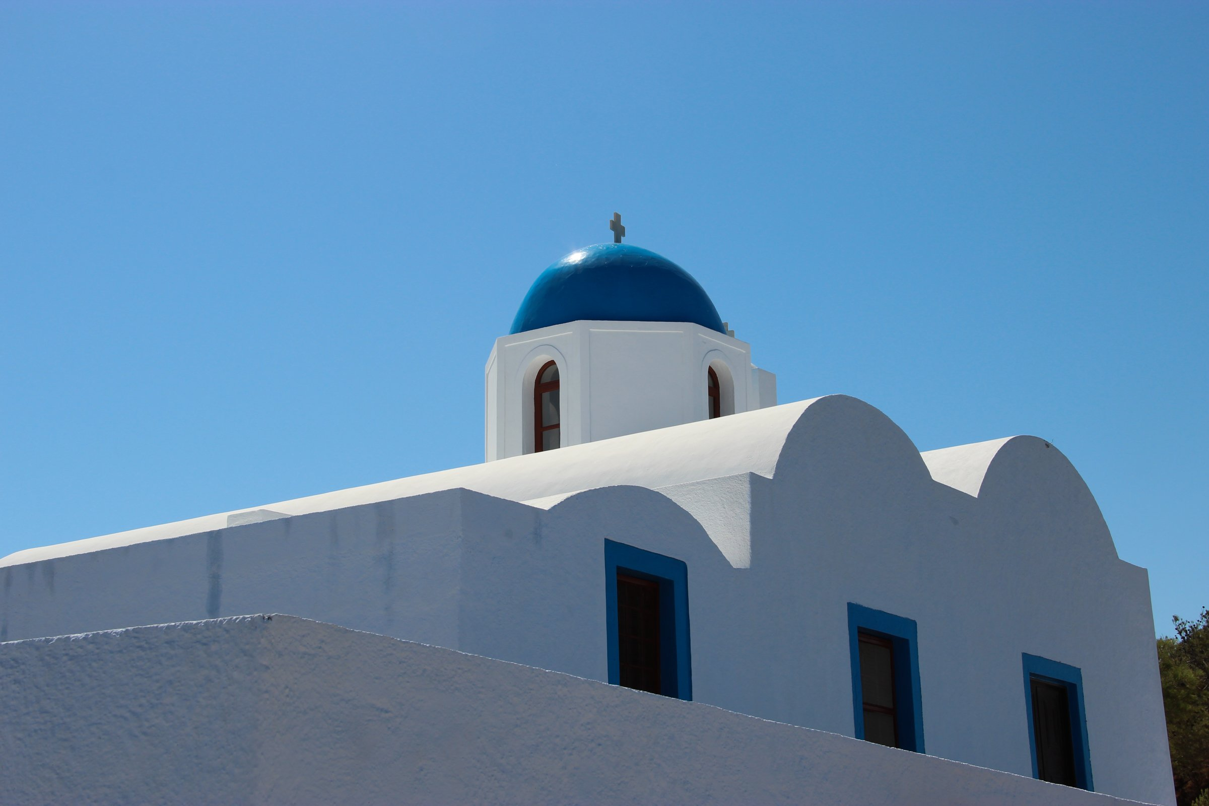 Mediterranean Blue And White Church Dome