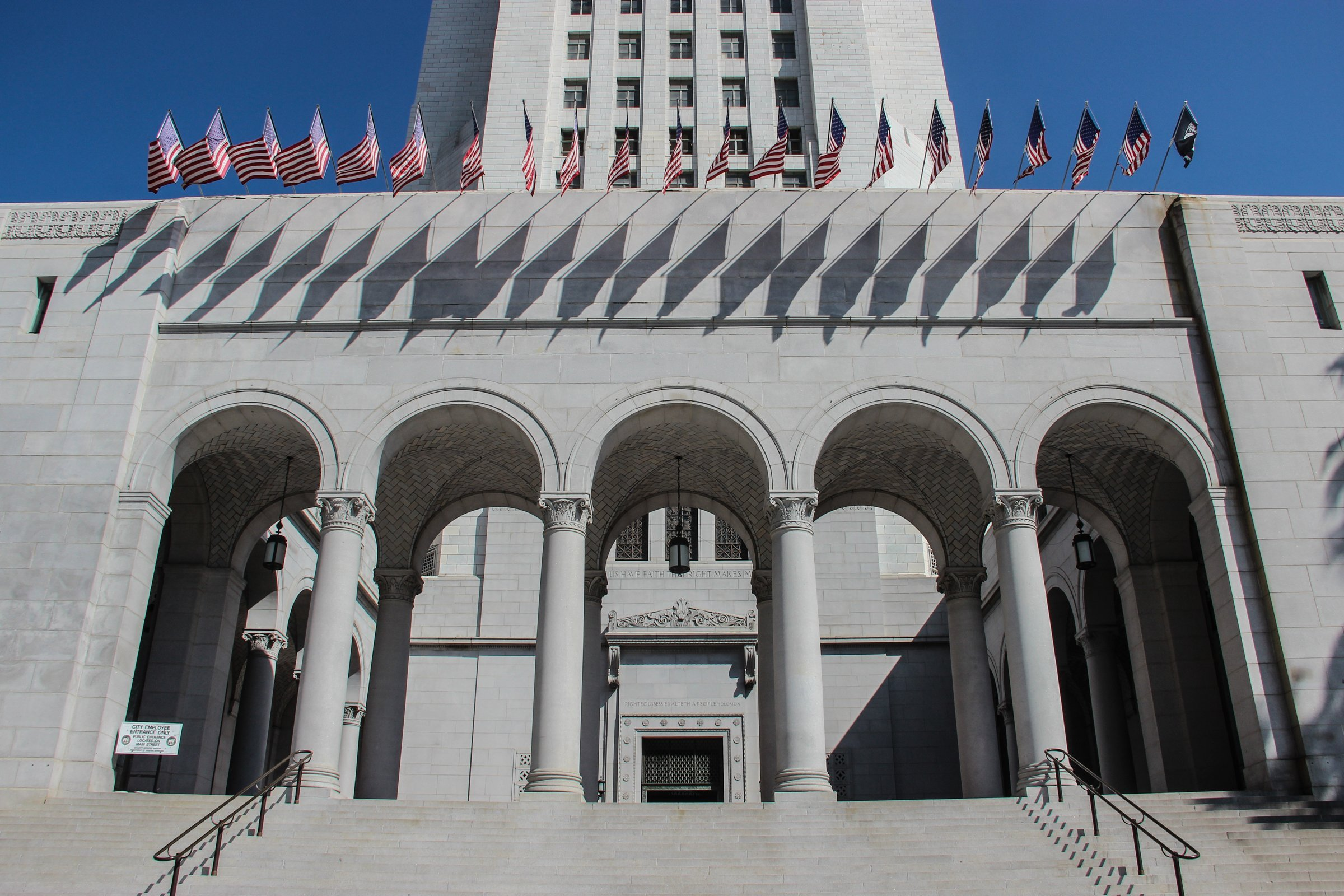 Multi Arched Entrance Of Los Angeles City Hall