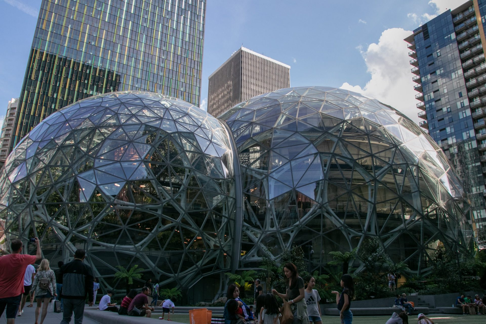 People Around Seattle Amazon Spheres