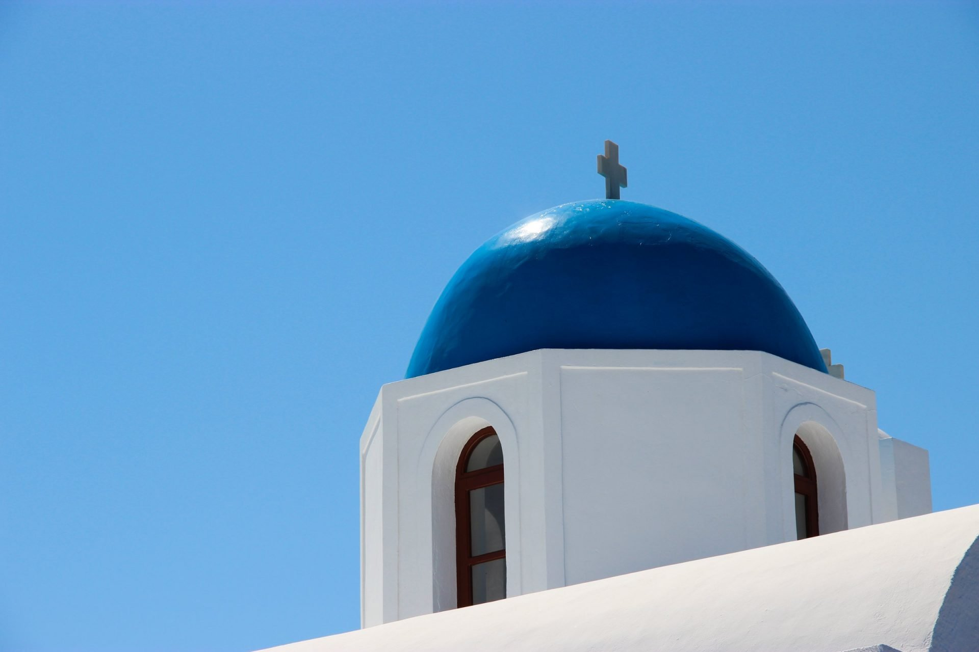 Blue Dome Of White Church In Greece