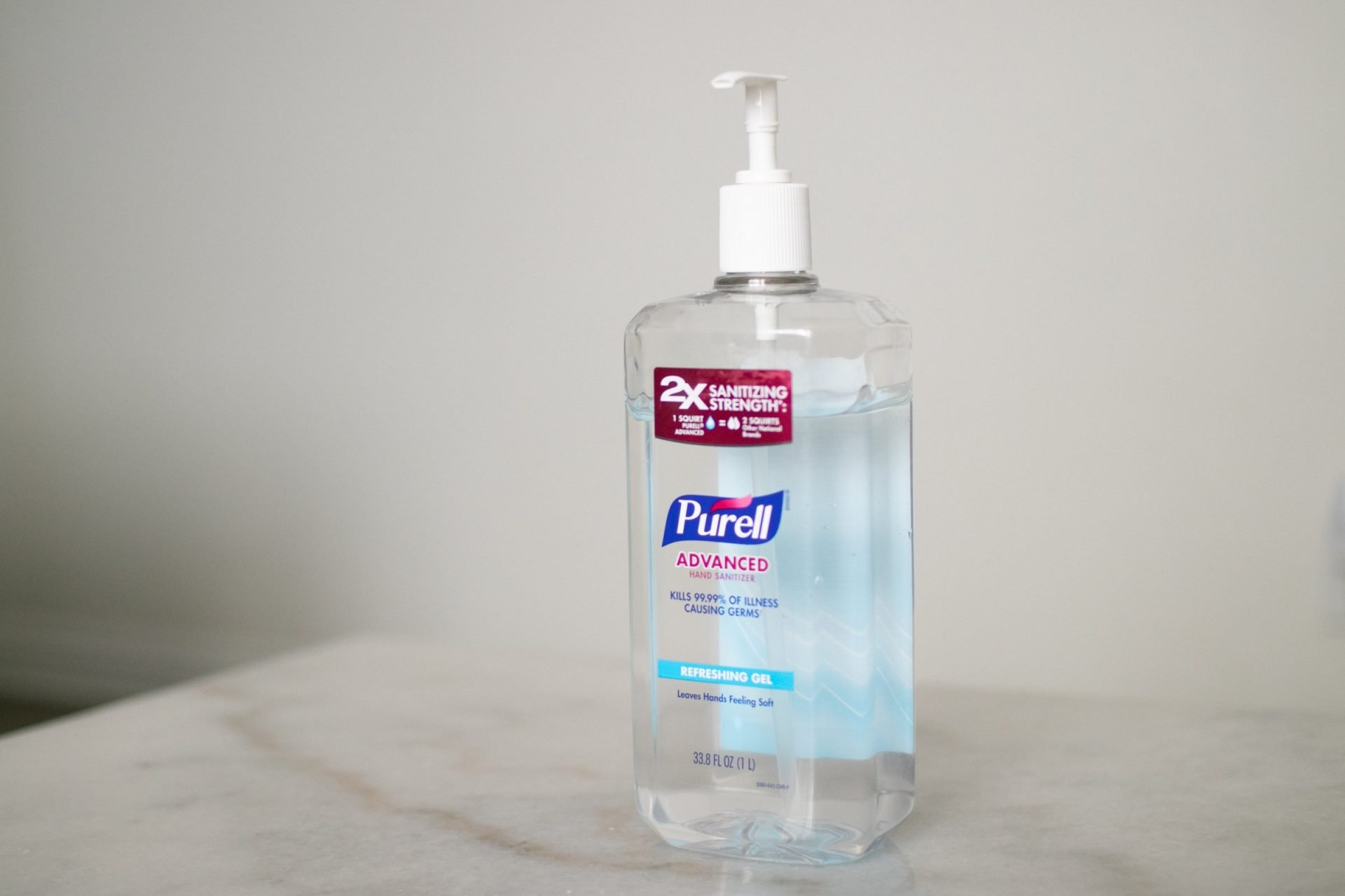 Bottle Of Hand Sanitizer On Marble Surface